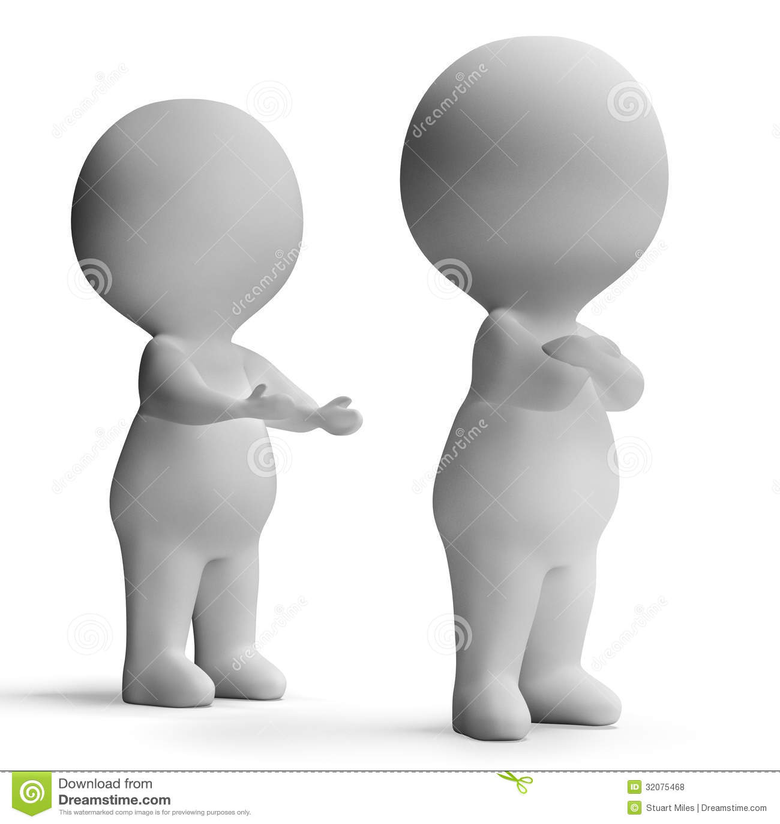 upset unhappy 3d character showing disagreement between