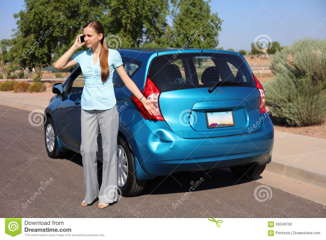 Upset Woman After Car Accident