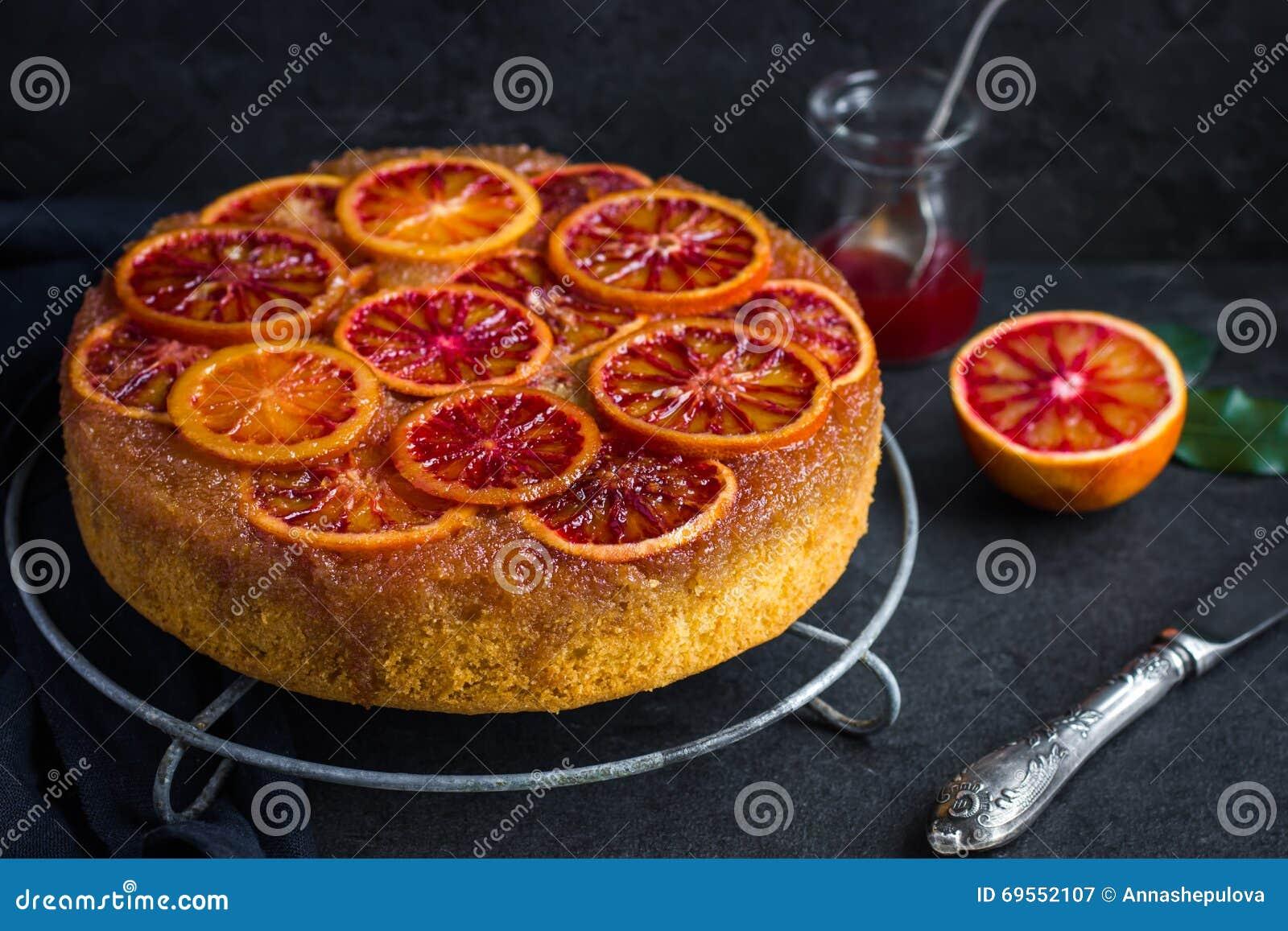 Upside Down Blood Orange Cake Royalty Free Stock
