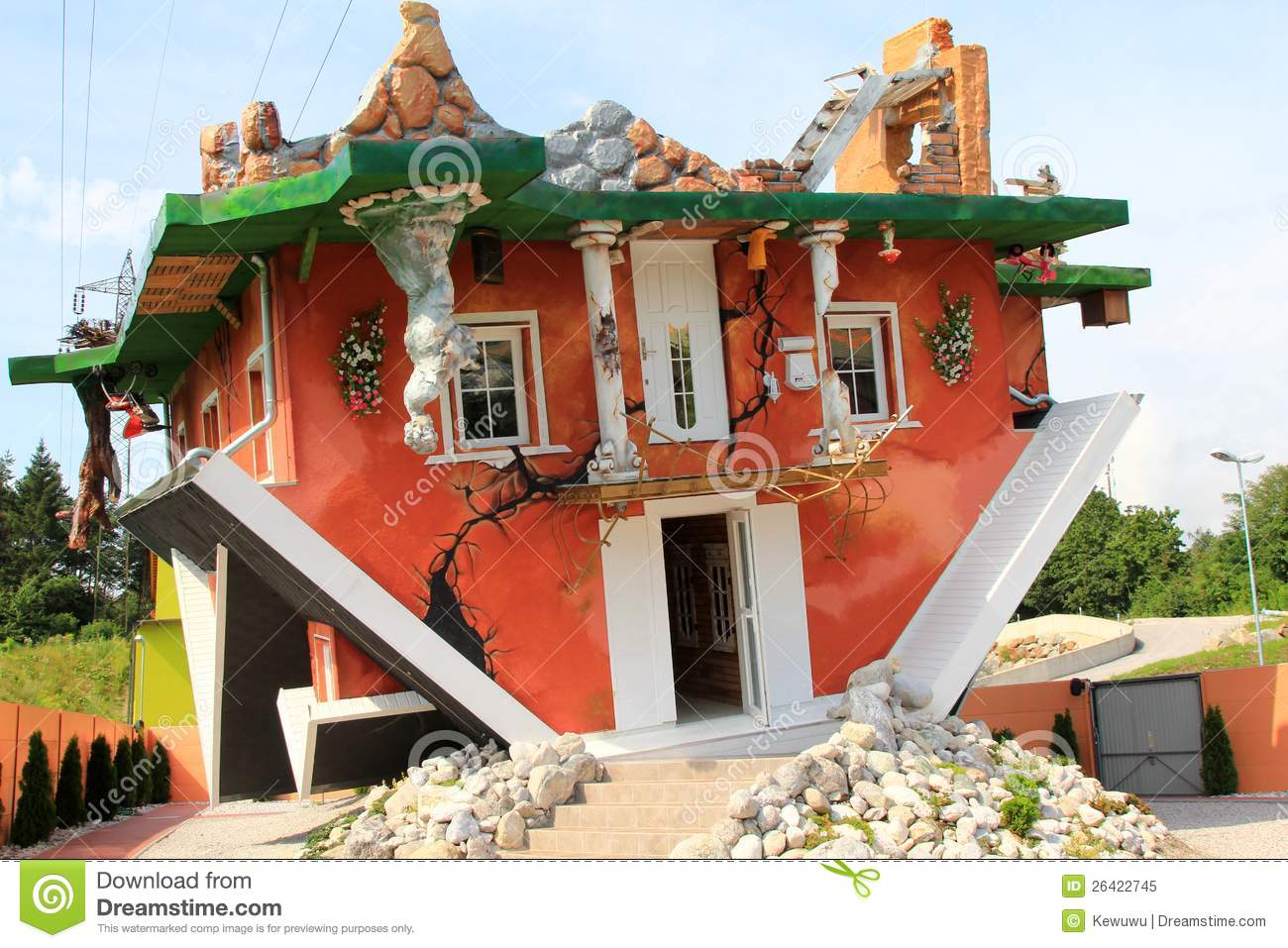 Upside down house in tyrol austria royalty free stock The upside house