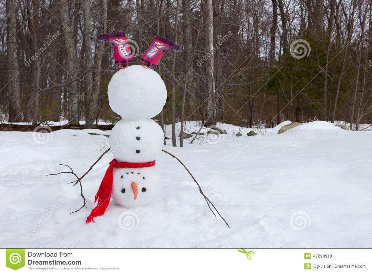Upside down snowman stock image of nobody silly