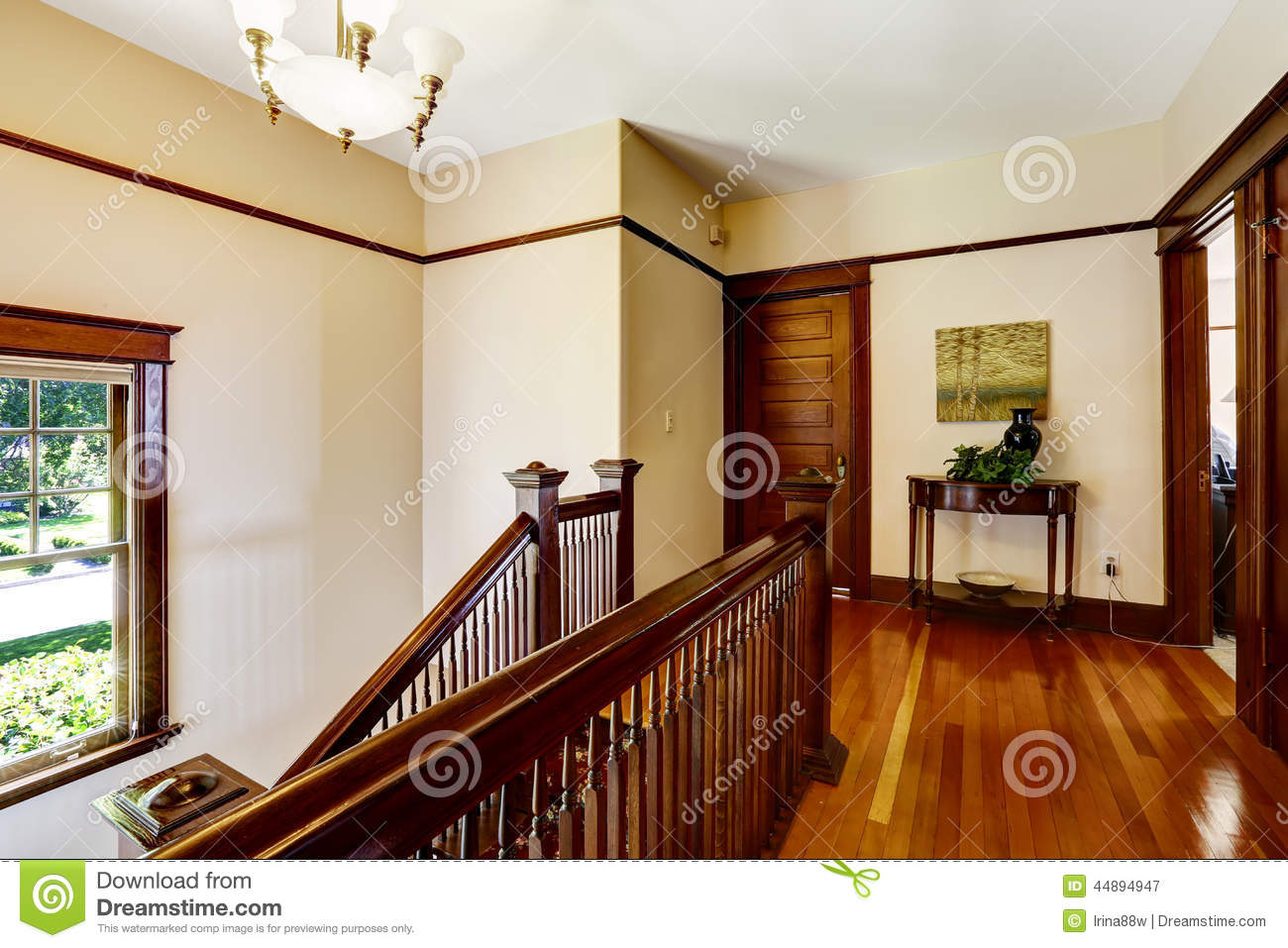Upstairs hallway with hardwood floor and staircase stock for Hardwood floors upstairs