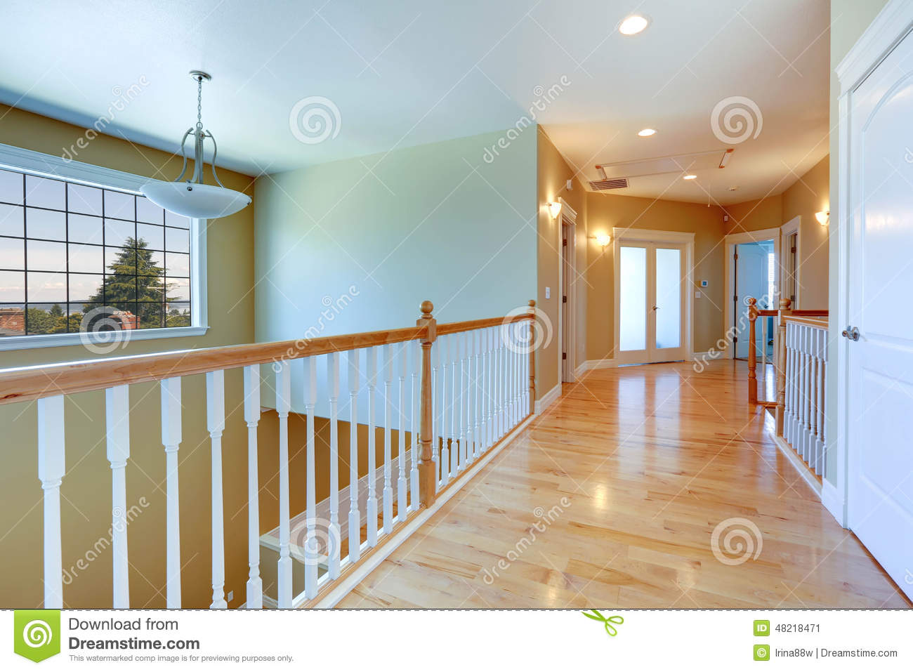 Upstairs hallway with railings stock image image of for Hardwood floors upstairs