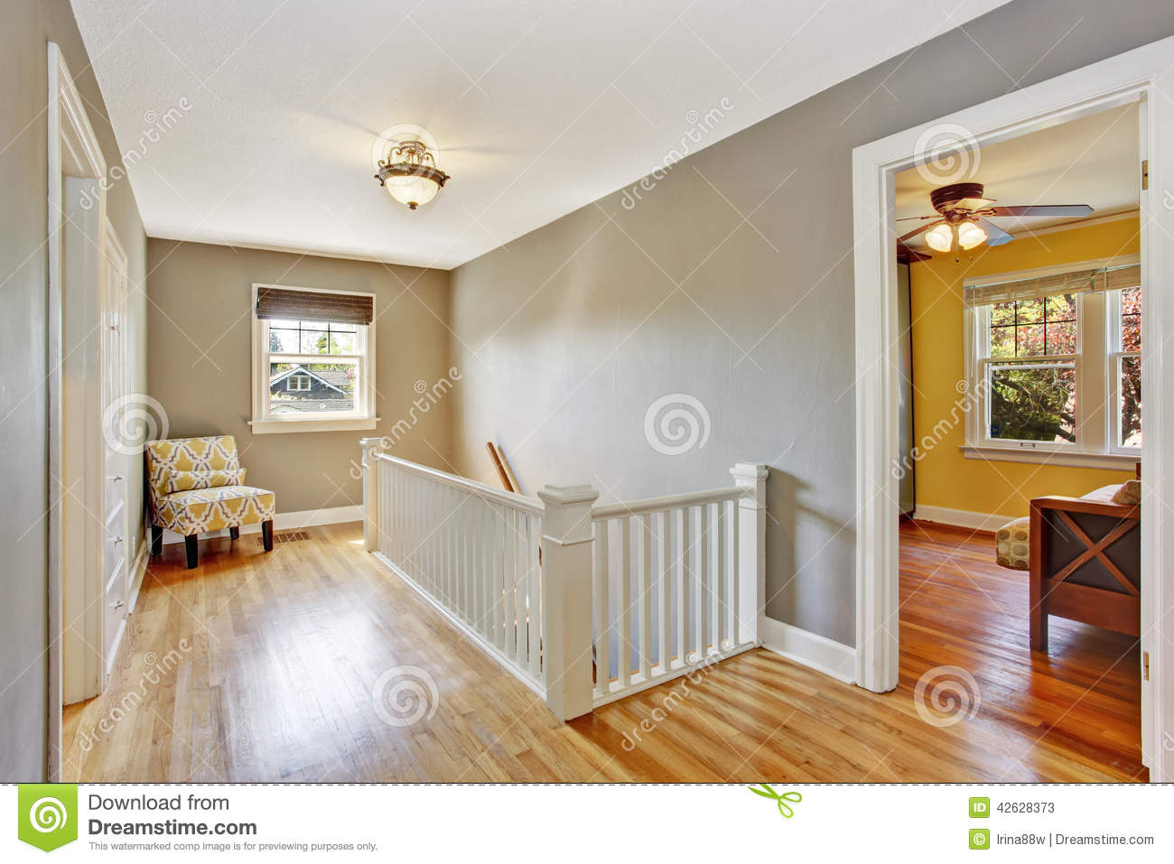 Upstairs hallway with staircase stock photo image 42628373 for Hardwood floors upstairs