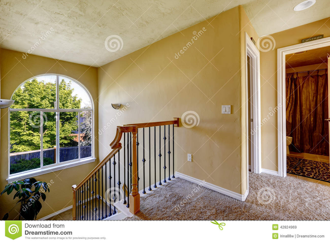 Upstairs hallway with staircase stock photo image 42824969 - One time interior house cleaning ...