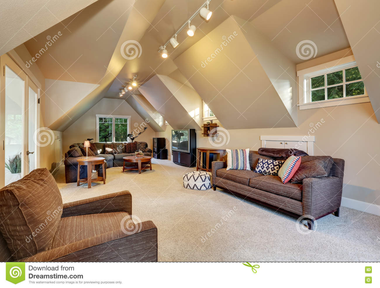 Upstairs Living Room Interior Of Luxury House. Stock Photo - Image Of Estate, Architecture: 80658228