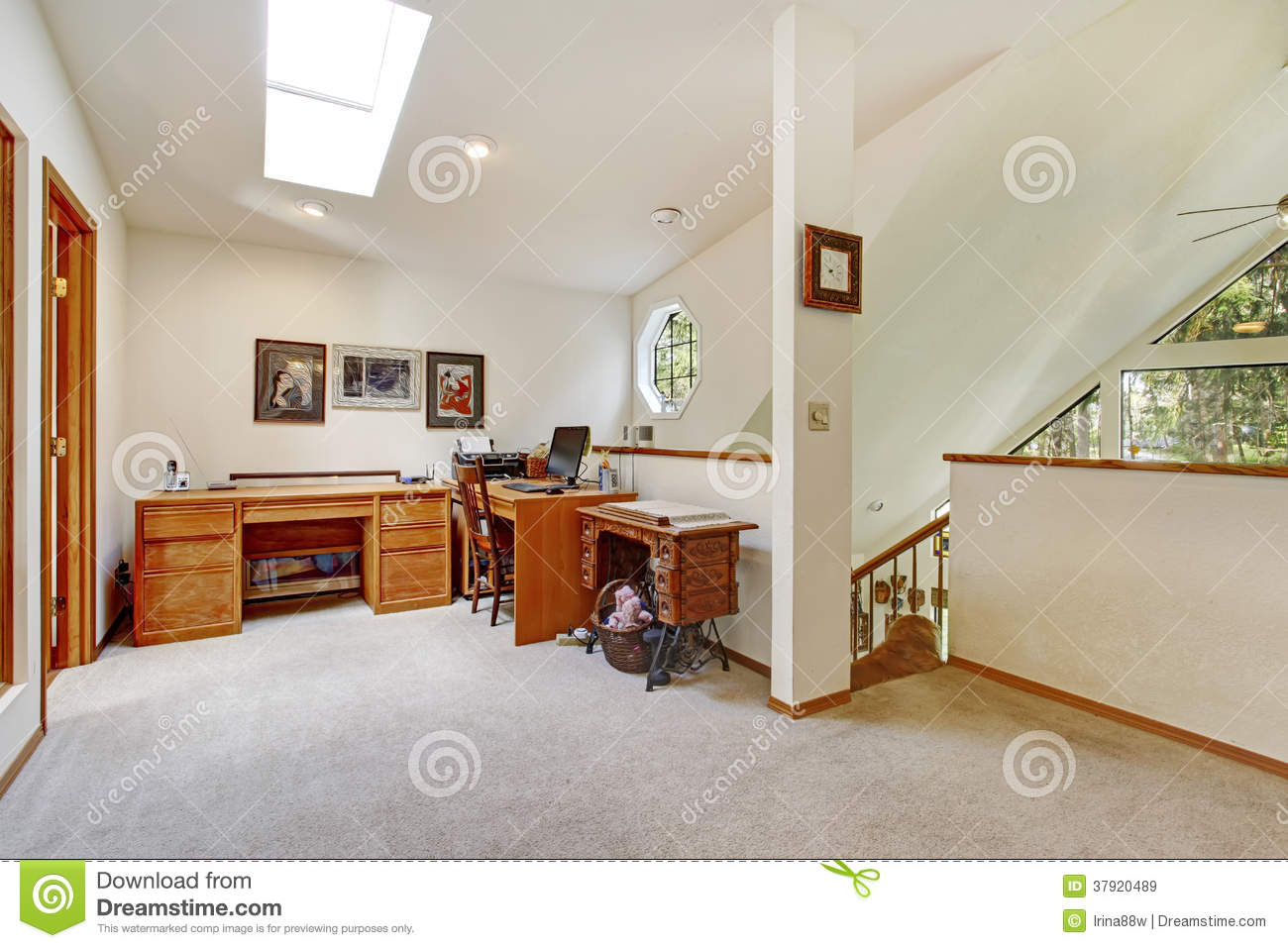 Upstairs office room open wall design idea royalty free for Upstairs design