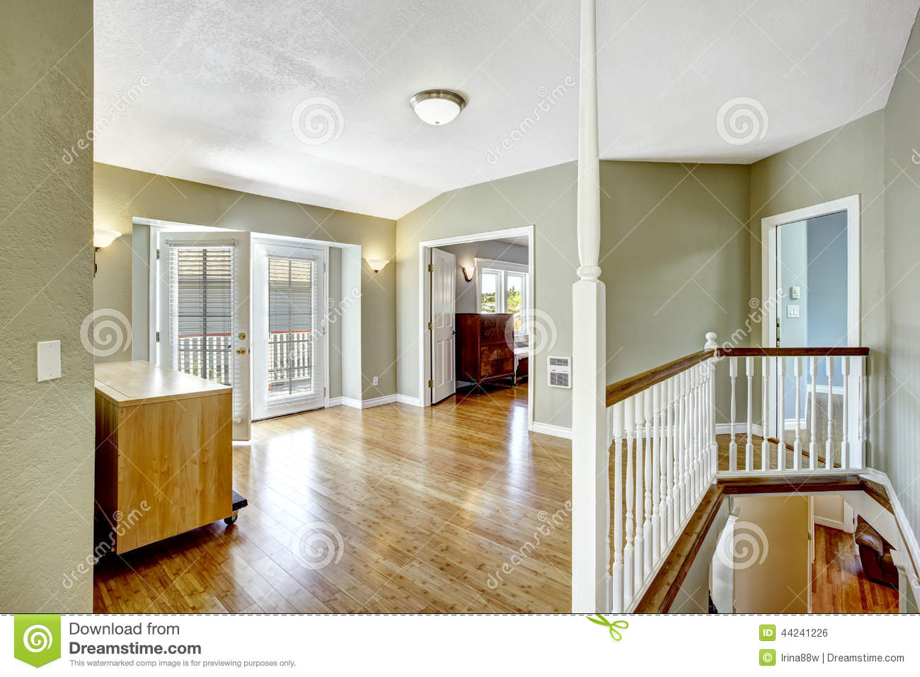 Upstairs Room With Walkout Deck In Empty House Stock Photo Image 44241226