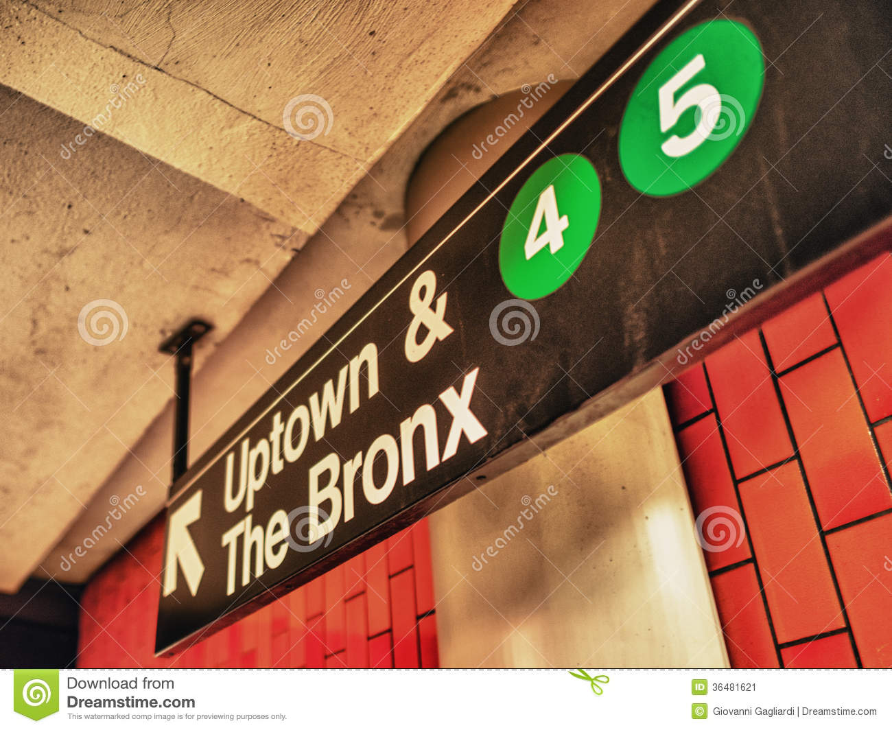 Uptown Ad Bronx Subway Sign Manhattan New York Editorial