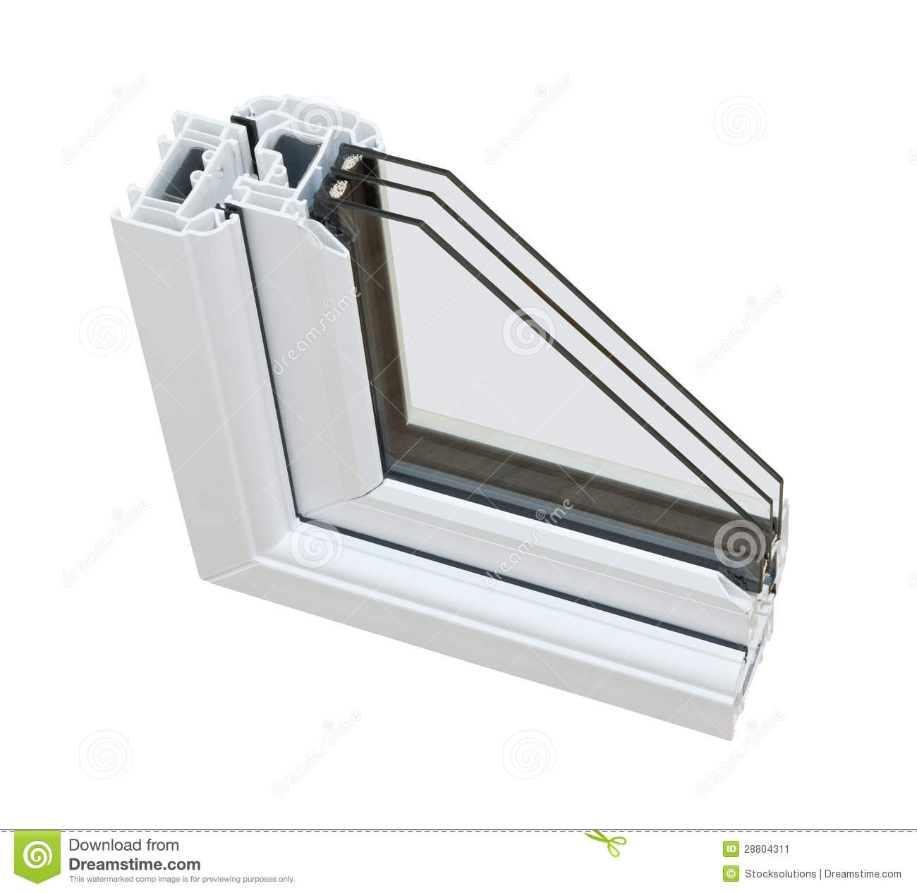 Upvc triple glazing cross section stock image image for Triple glazing