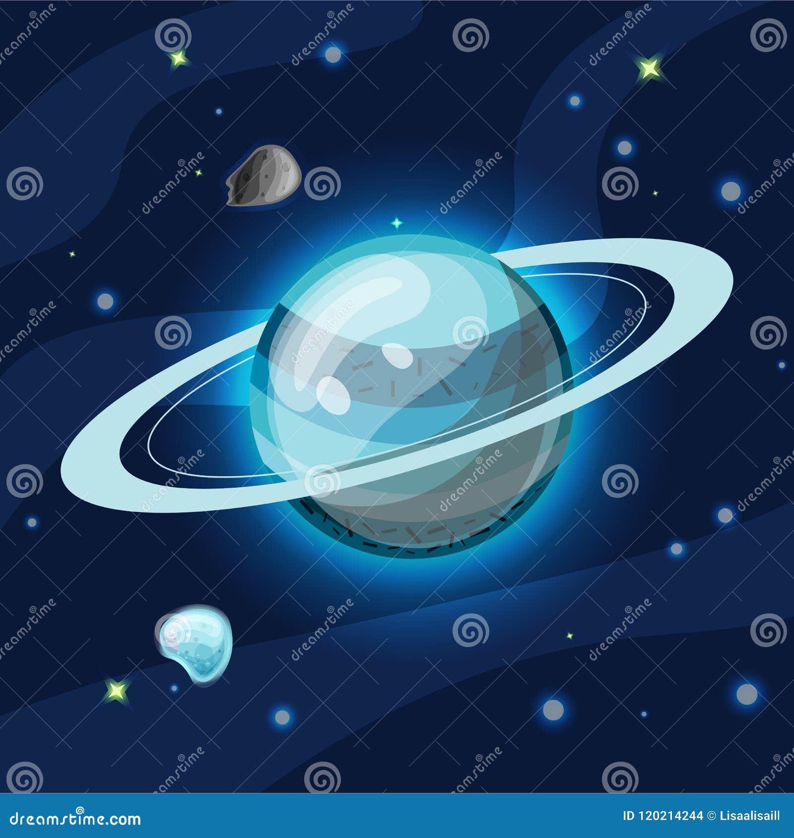 Uran,传染媒介动画片例证 太阳系蓝色Uran行星黑暗的深刻的蓝色空间的,隔绝在蓝色背景
