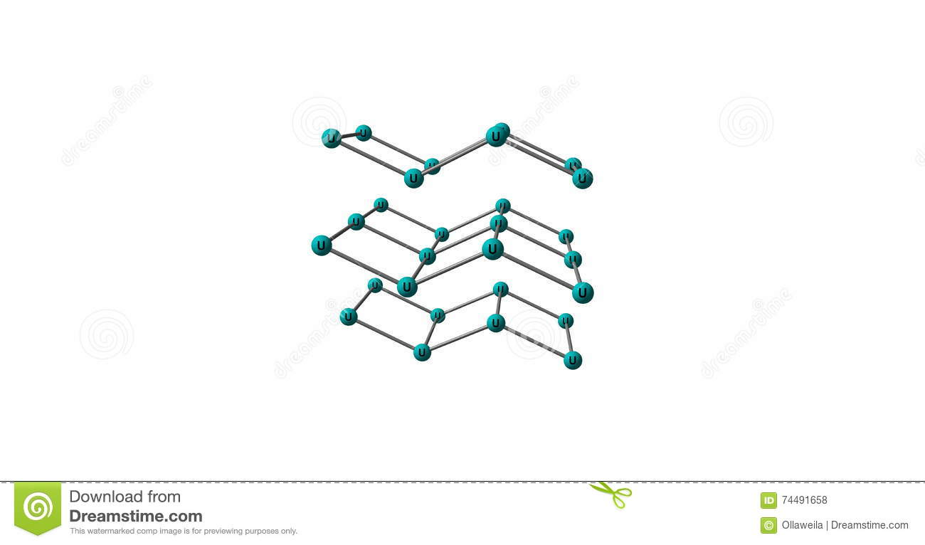 Uranium Molecular Structure Isolated On White Stock Illustration