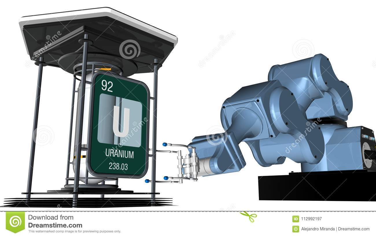 Uranium symbol in square shape with metallic edge in front of a mechanical arm that will hold a chemical container. 3D render.