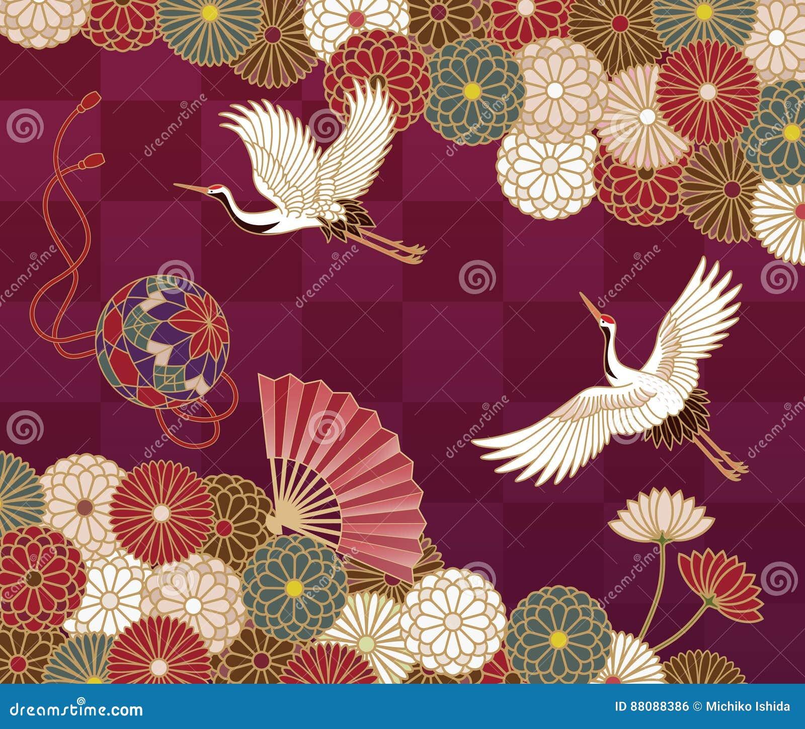 Żurawie i chryzantema Japoński tradycyjny wzór