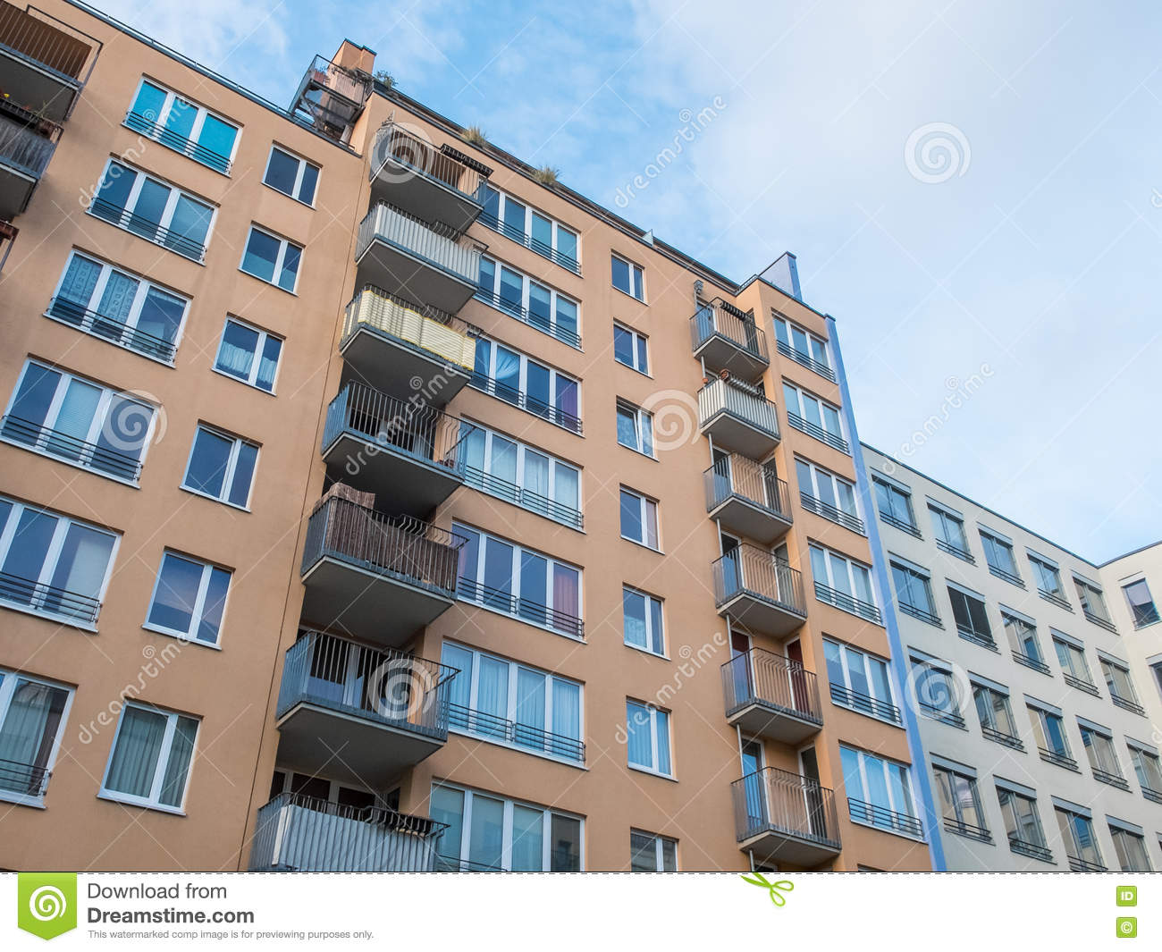 Urban Apartment Building With Small Balconies Stock Photos