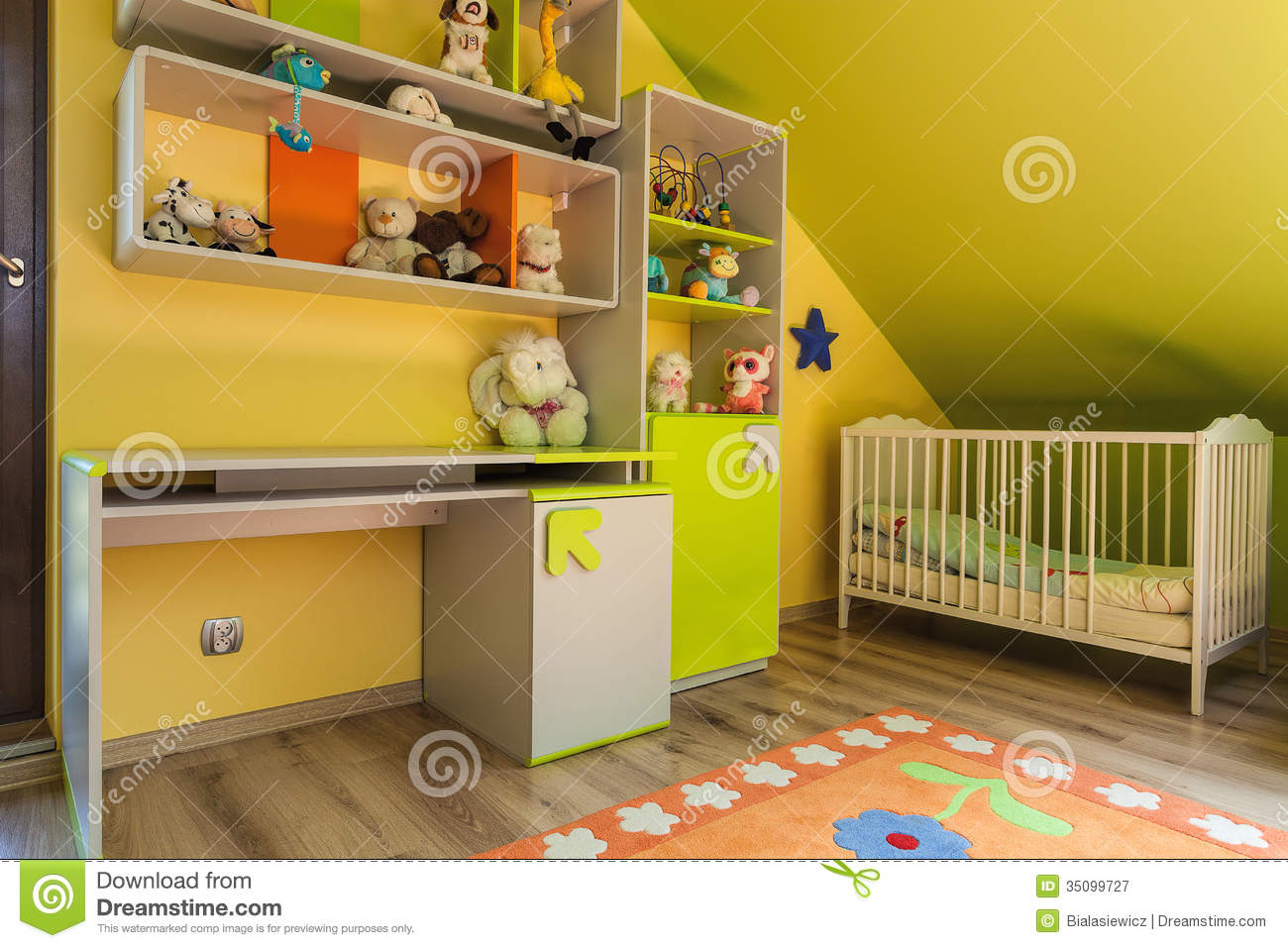 Urban Apartment Green And Yellow Interior Stock Image