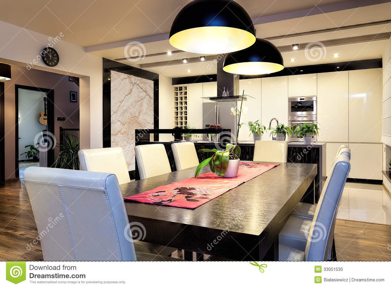 Urban apartment kitchen with big table stock photo for Grande table salle a manger