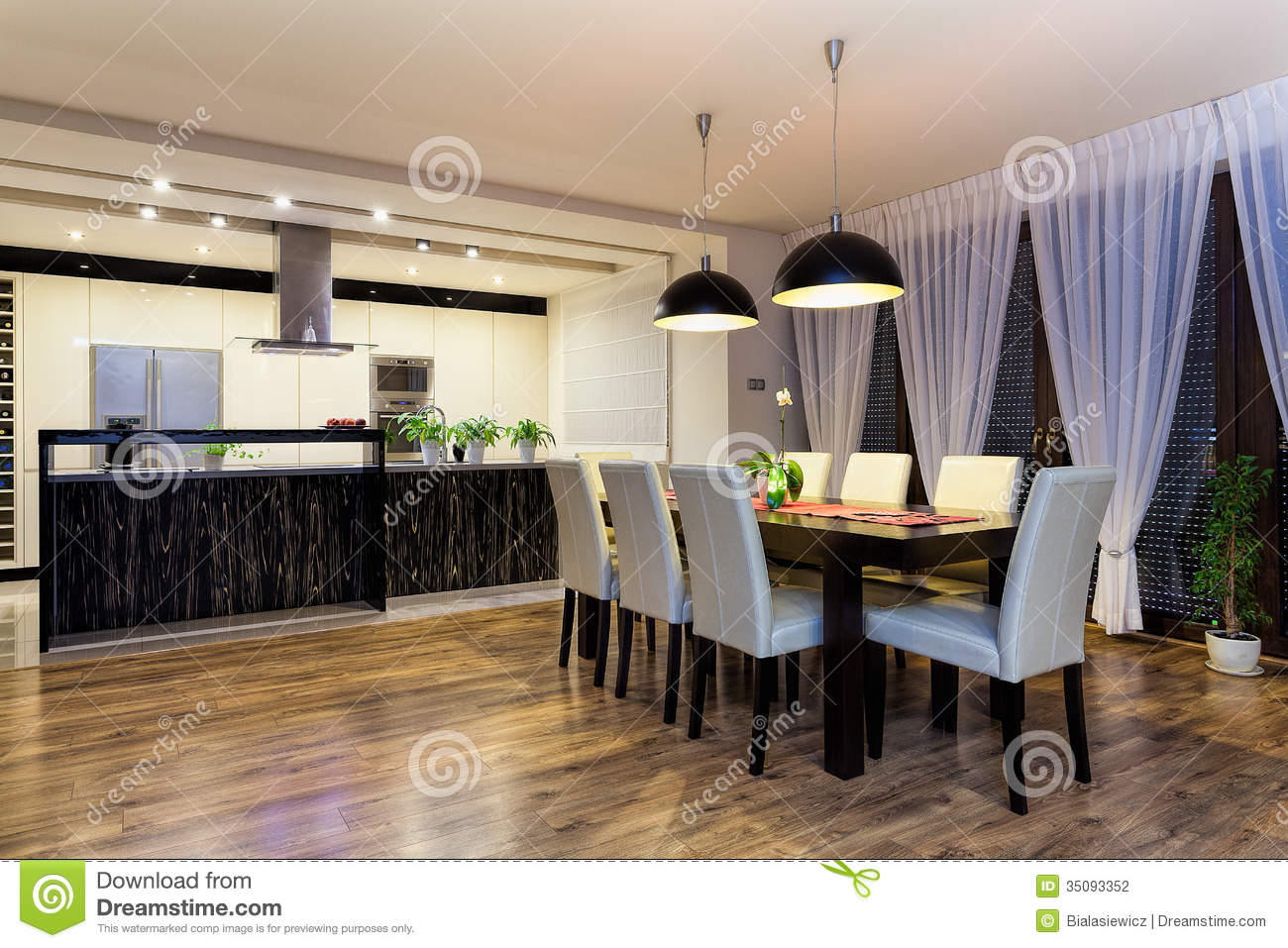 urban apartment spacious kitchen with table stock photography