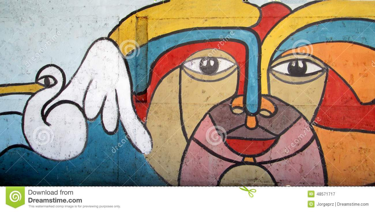 Urban art face and pelican editorial photography for Abstract mural painting