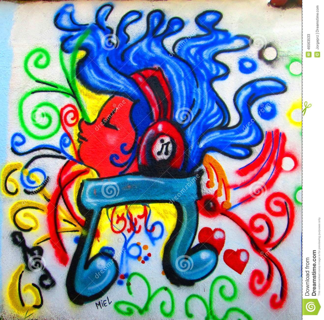 ... music note , blue hair and multiple colors in the background