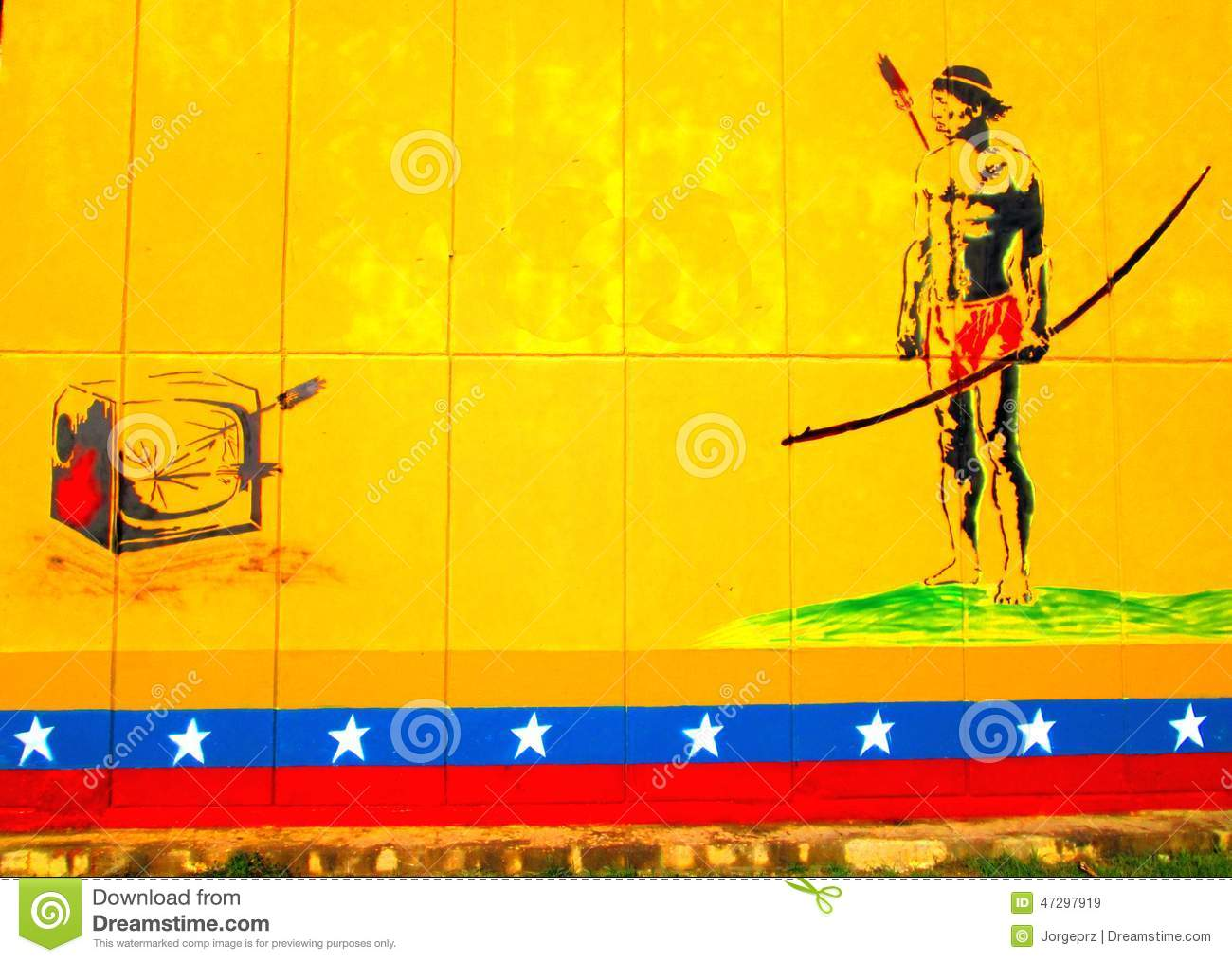 URban Art. South AmericAN Native MAN ANd TV Editorial Stock Image ...