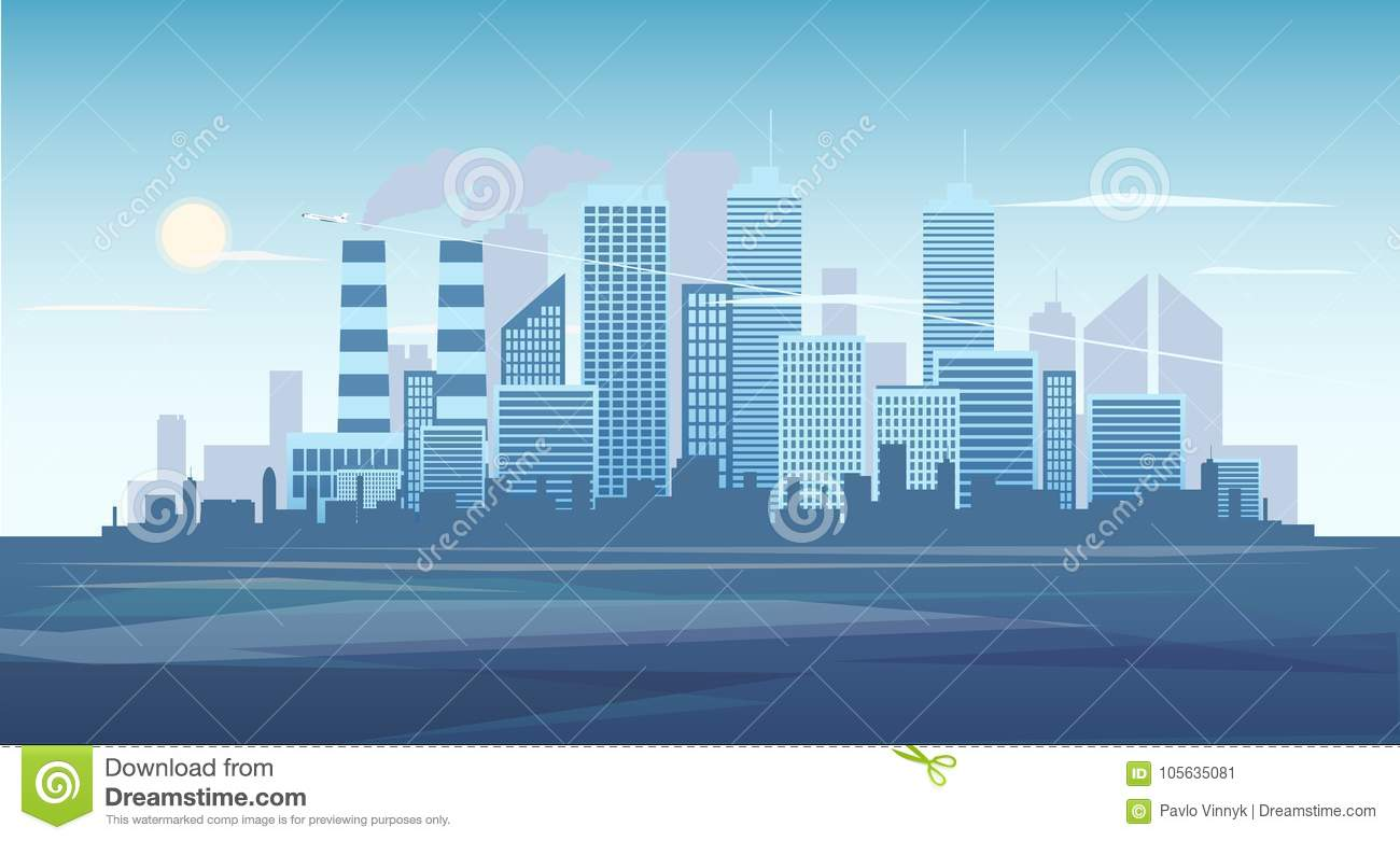 urban background of cityscape with the factory city skyline vector illustration blue city silhouette