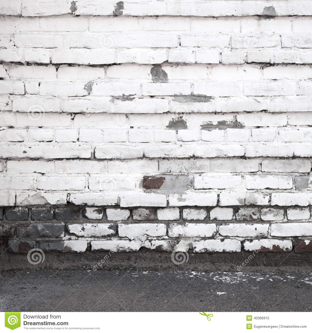 Urban Background Interior With Old White Brick Wall Stock