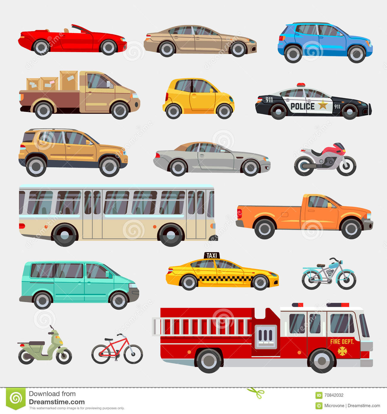 Urban City Cars And Vehicles Transport Vector Flat Icons Set Stock Vector Image 70842032