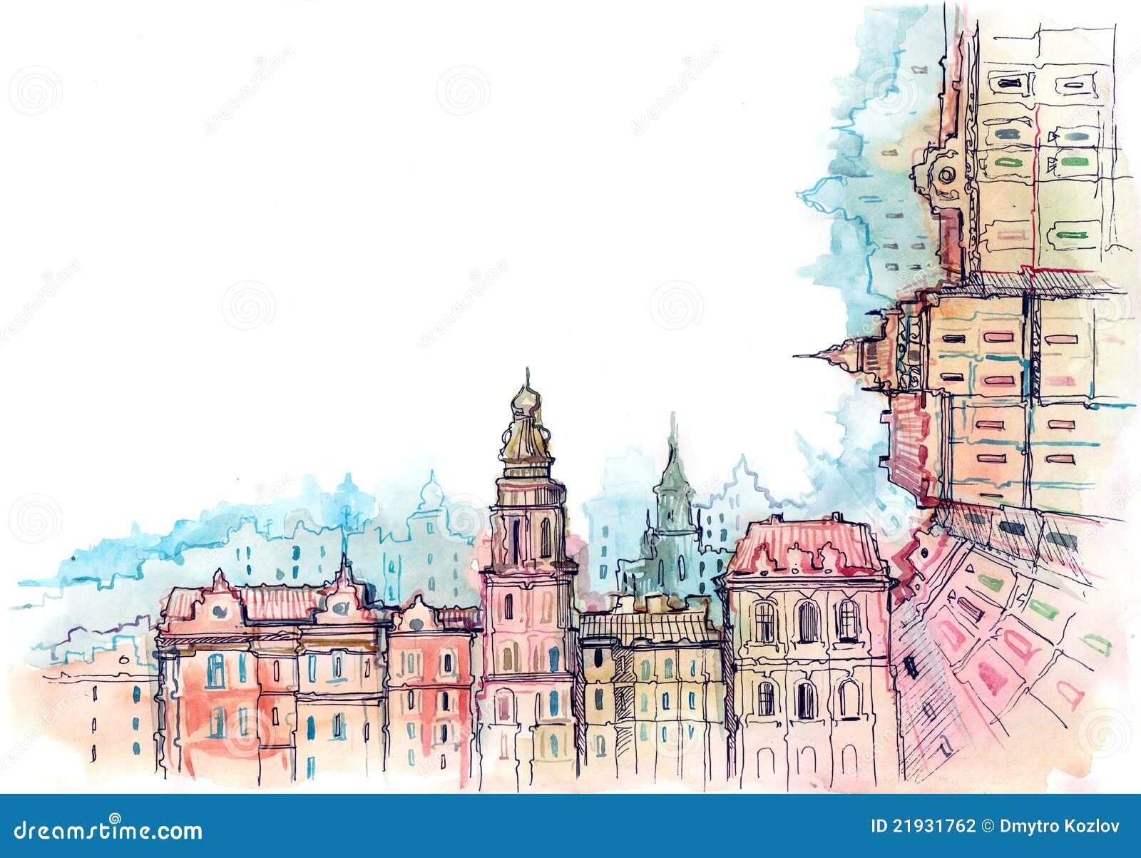 Urban city frame stock illustration. Illustration of buildings ...