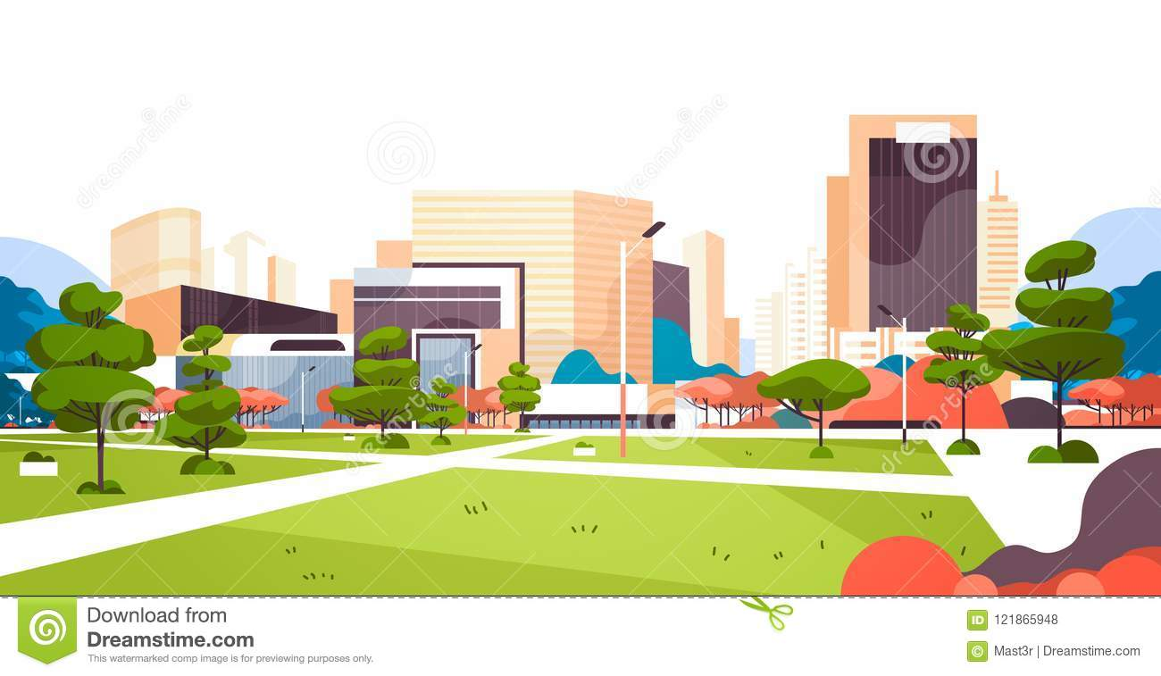 cd7f64c69eed Urban City Park Skyscraper Buildings View Modern Cityscape Downtown ...