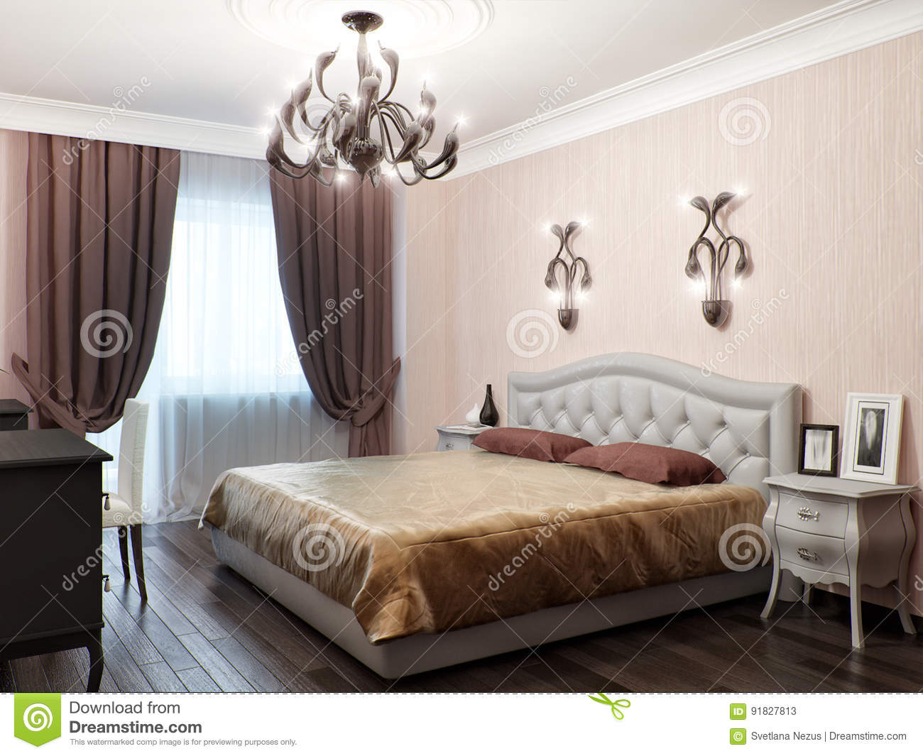 Urban Contemporary Classic Modern Bedroom Interior Design Stock