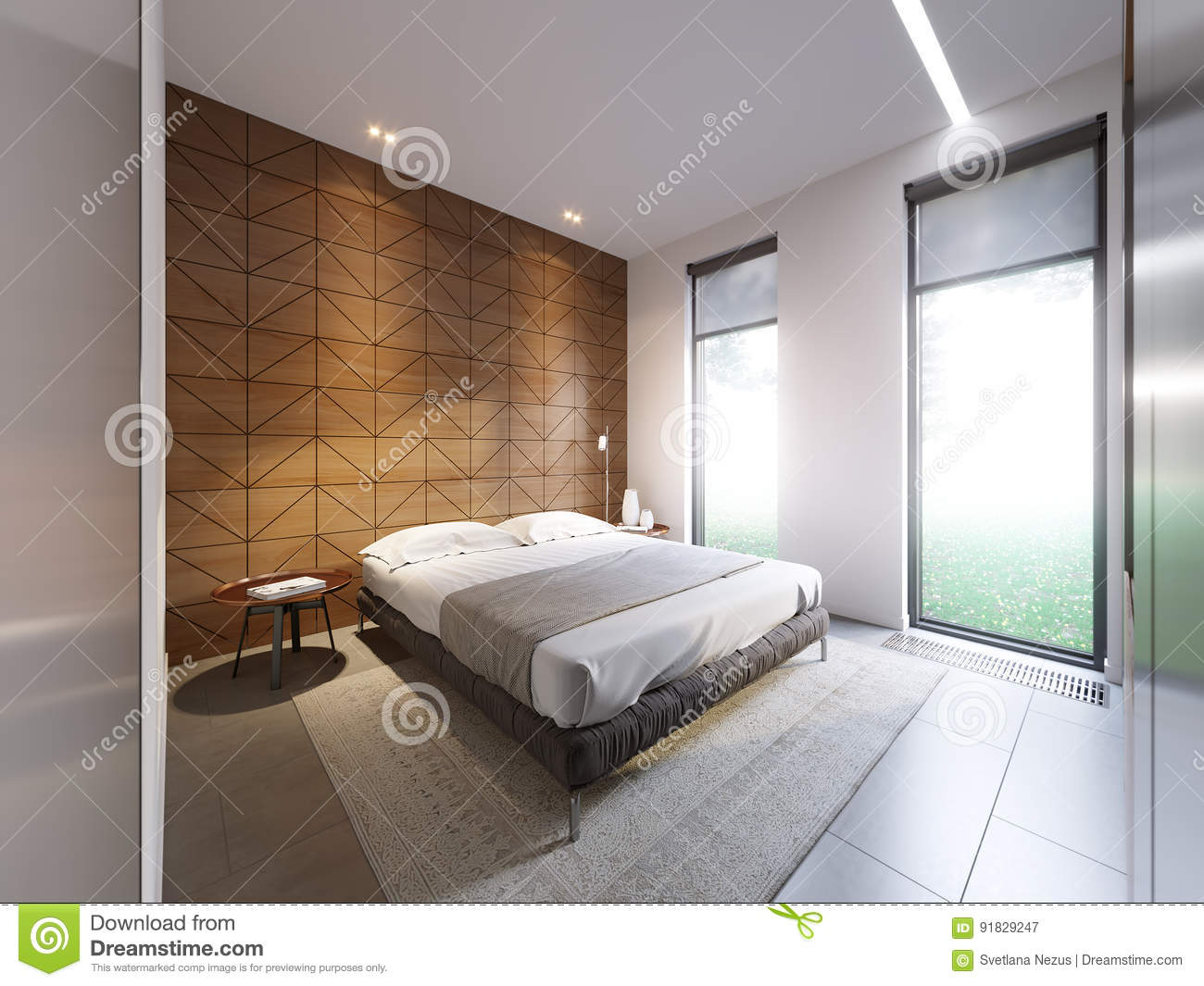 Picture of: Urban Contemporary Modern Minimalism High Tech Bedroom Interior Stock Illustration Illustration Of Furniture Home 91829247