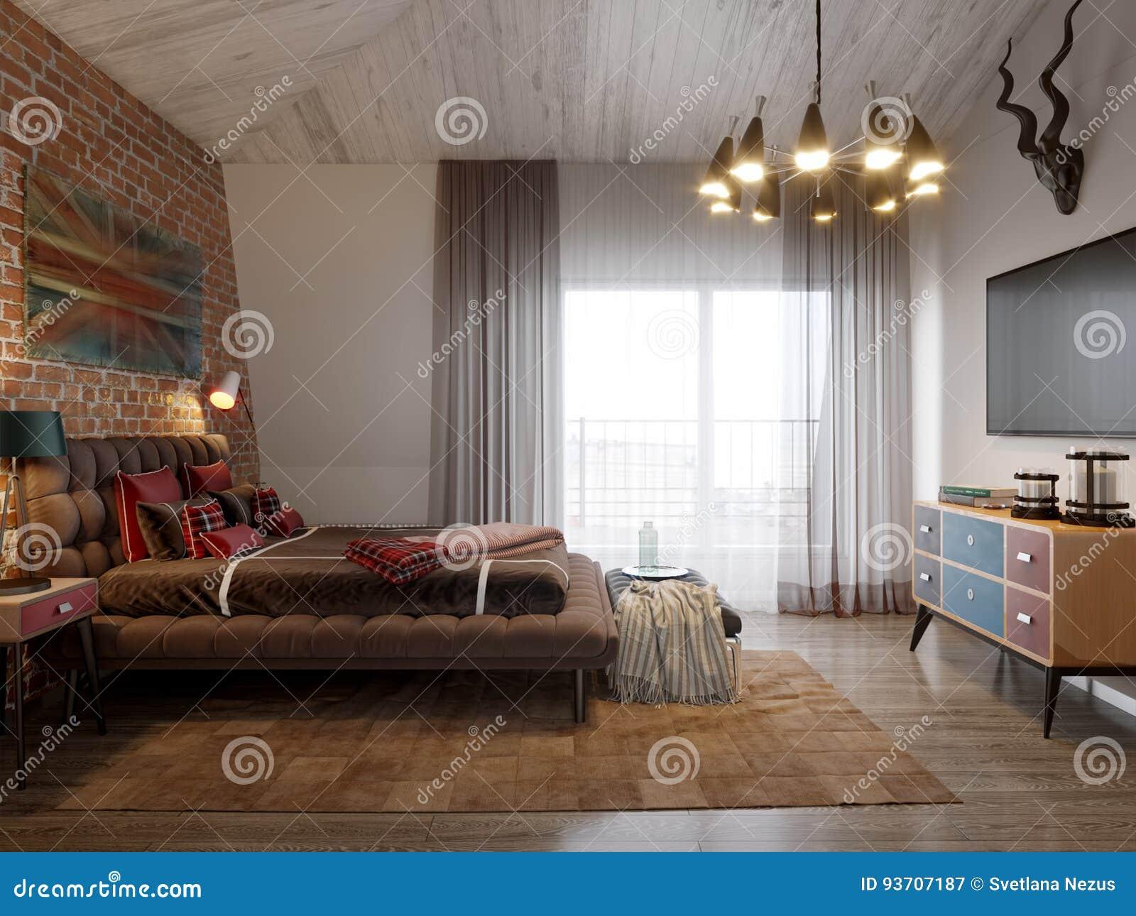 Urban Contemporary Modern Scandinavian Loft Bedroom Stock ...