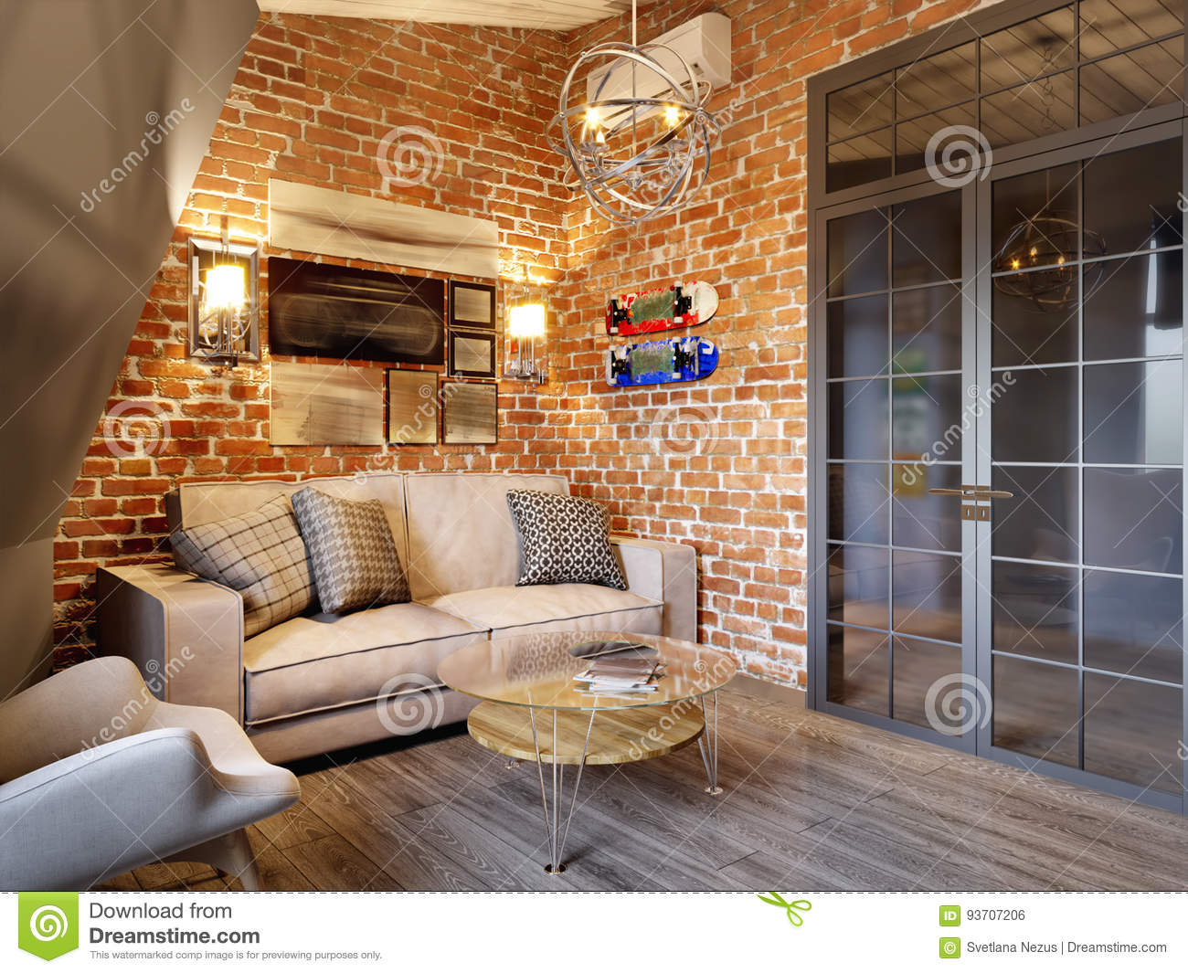 Urban contemporary modern scandinavian loft living room stock illustration illustration of Contemporary urban living room