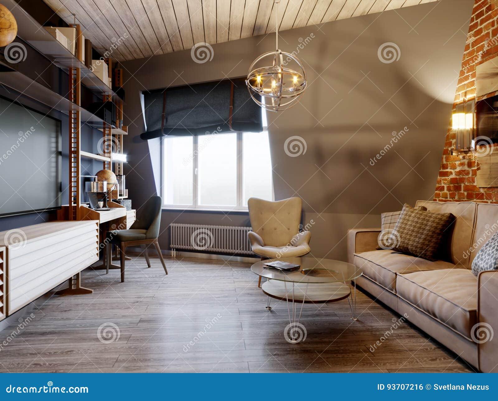 Urban Contemporary Modern Scandinavian Loft Living Room Stock