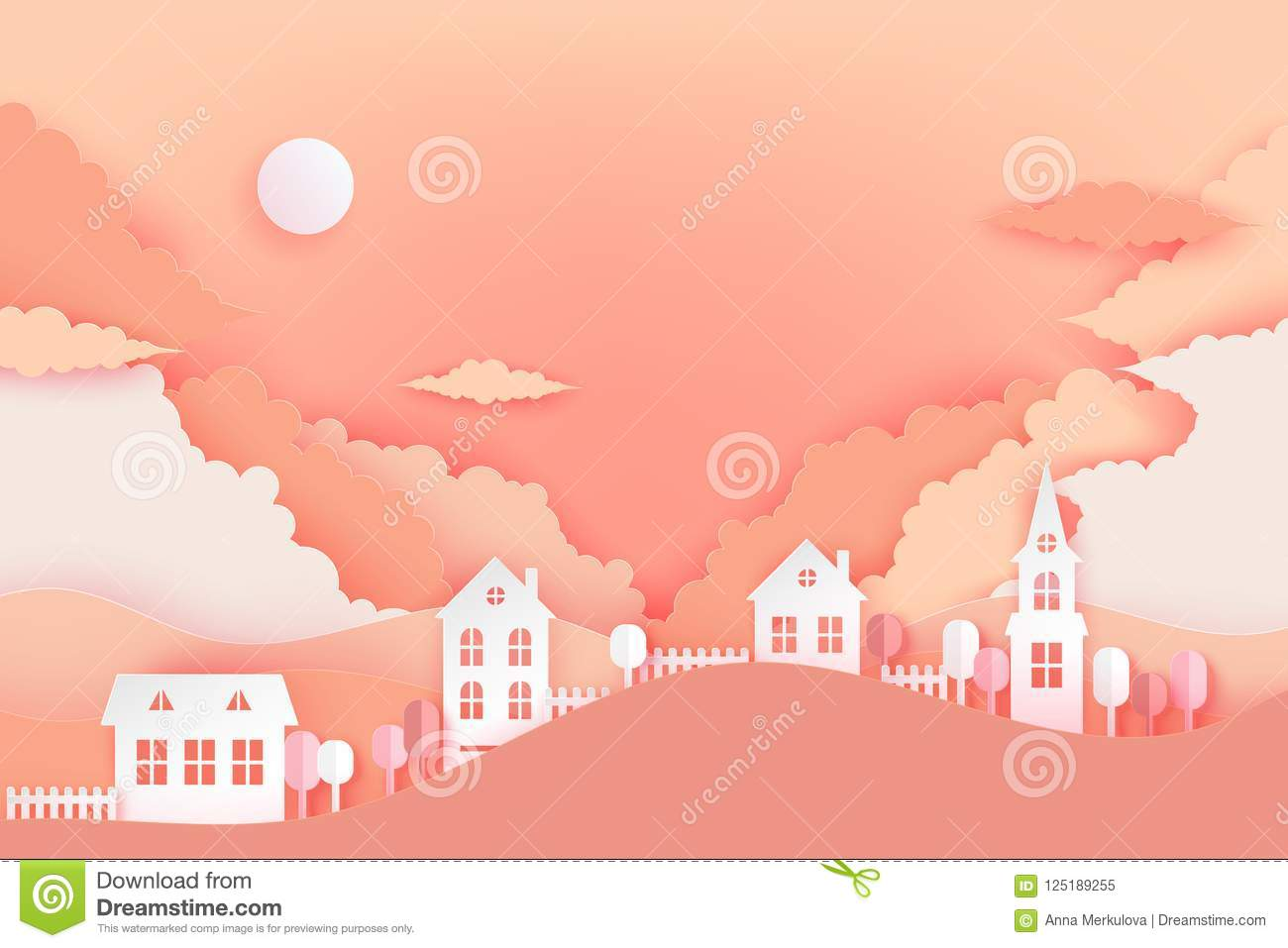 Urban Countryside Landscape Village With Cute Paper Houses