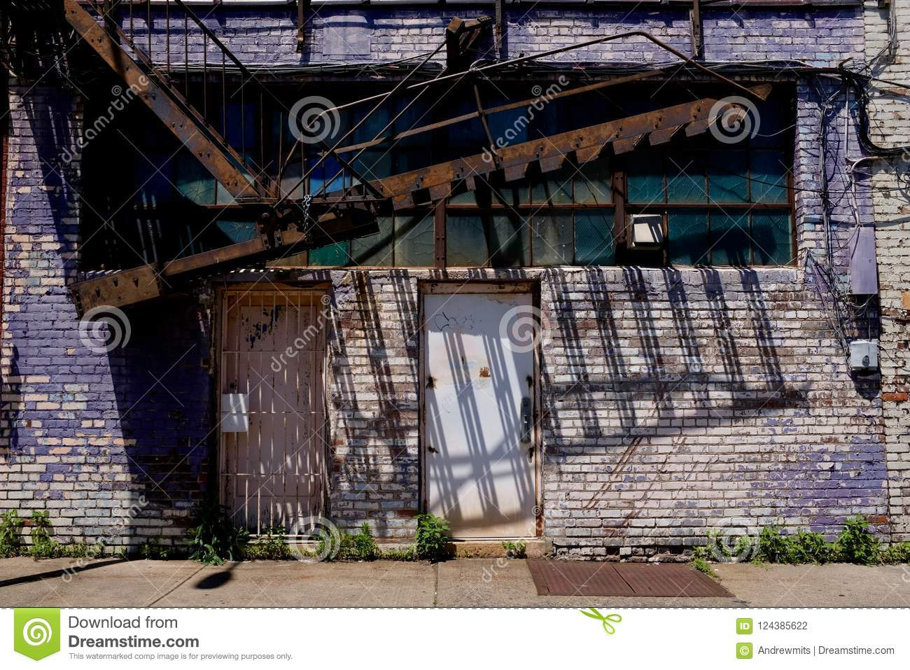 Urban Decay Building With Fire Escape Stock Photo - Image of