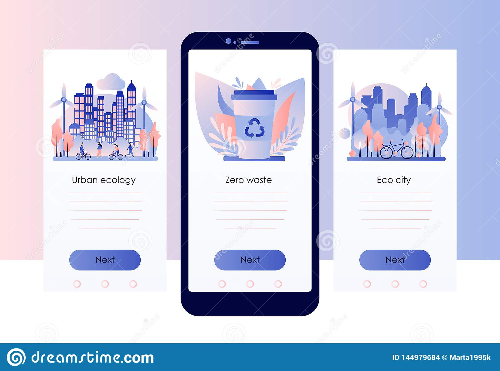 Urban ecology set. Zero Waste. Screen template for mobile smart phone. Flat style