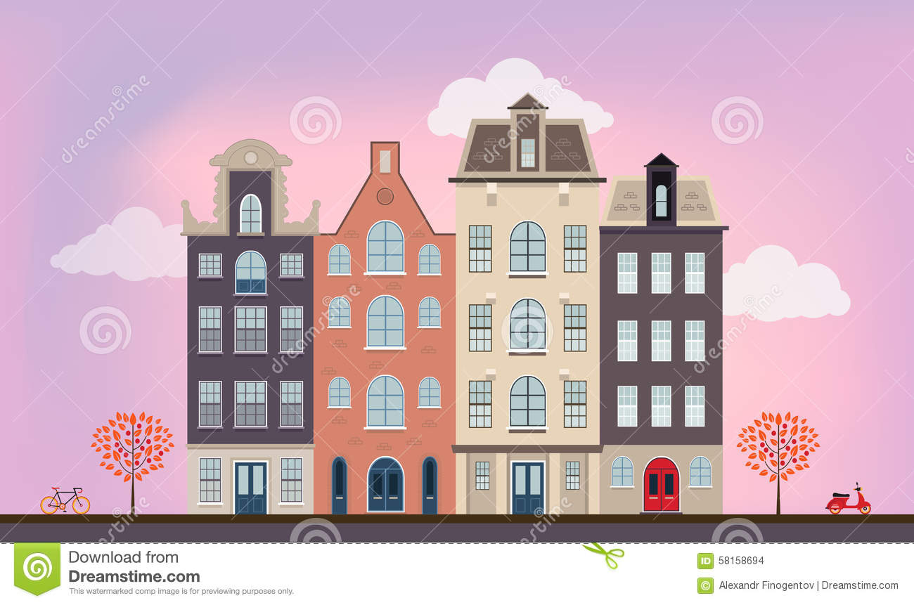 Urban european houses stock vector. Illustration of house - 58158694
