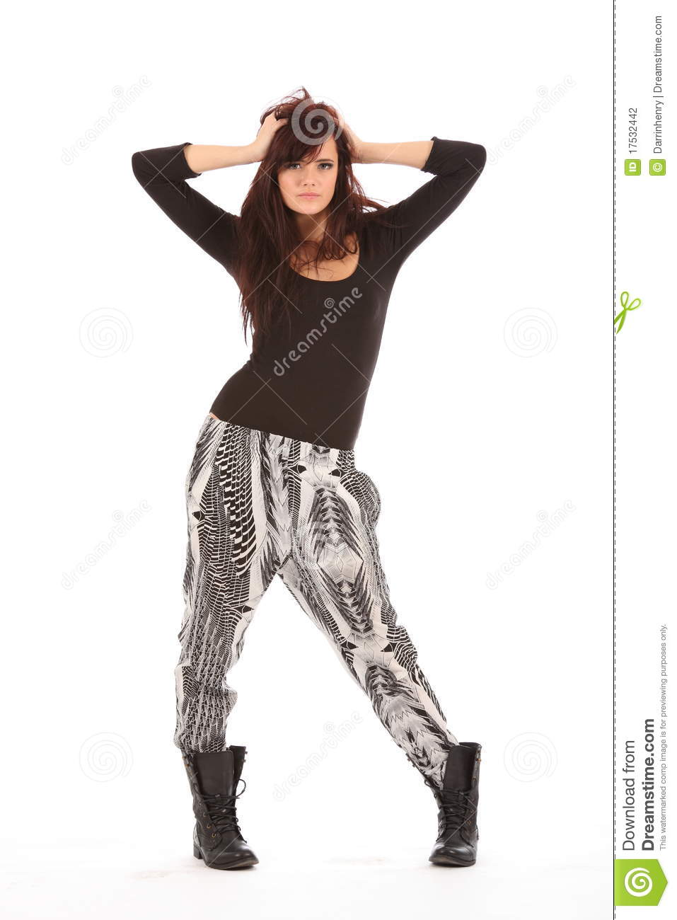 Urban Fashion Model In Black And White Outfit Stock Photo - Image 17532442
