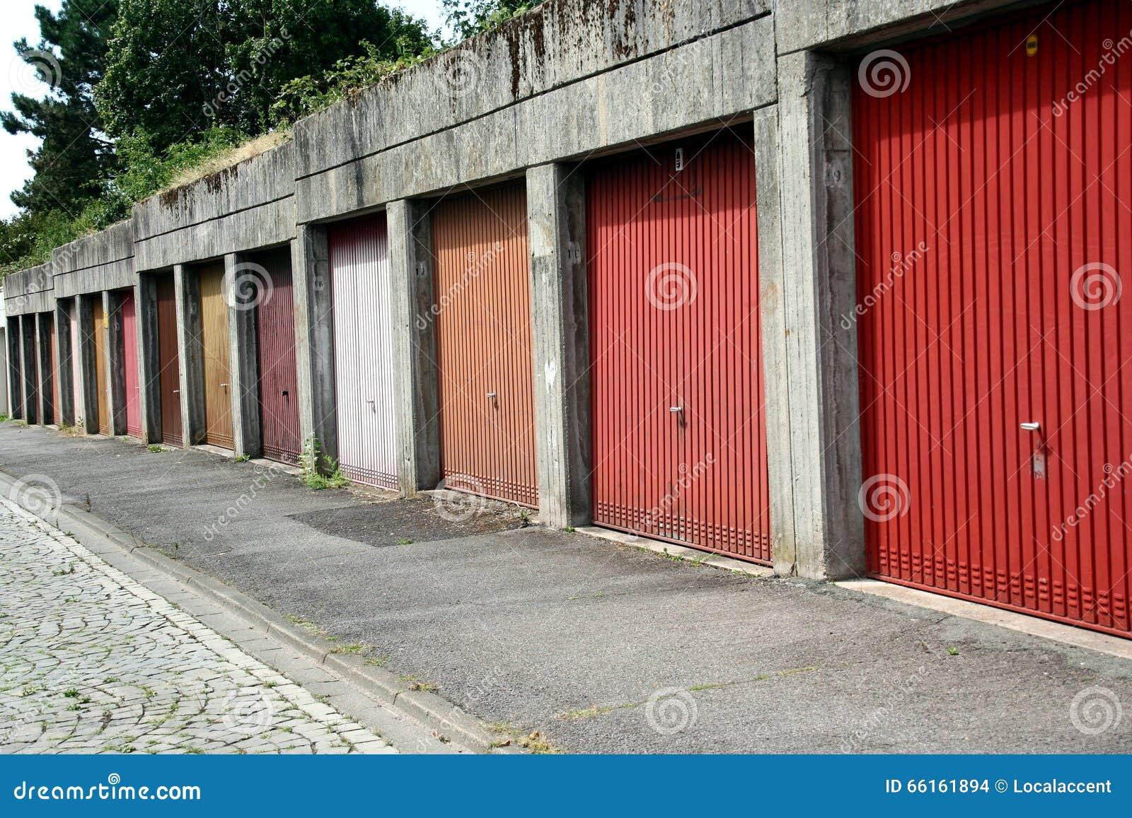 Urban Garage Doors Germany Stock Photo Image Of Orange Manual