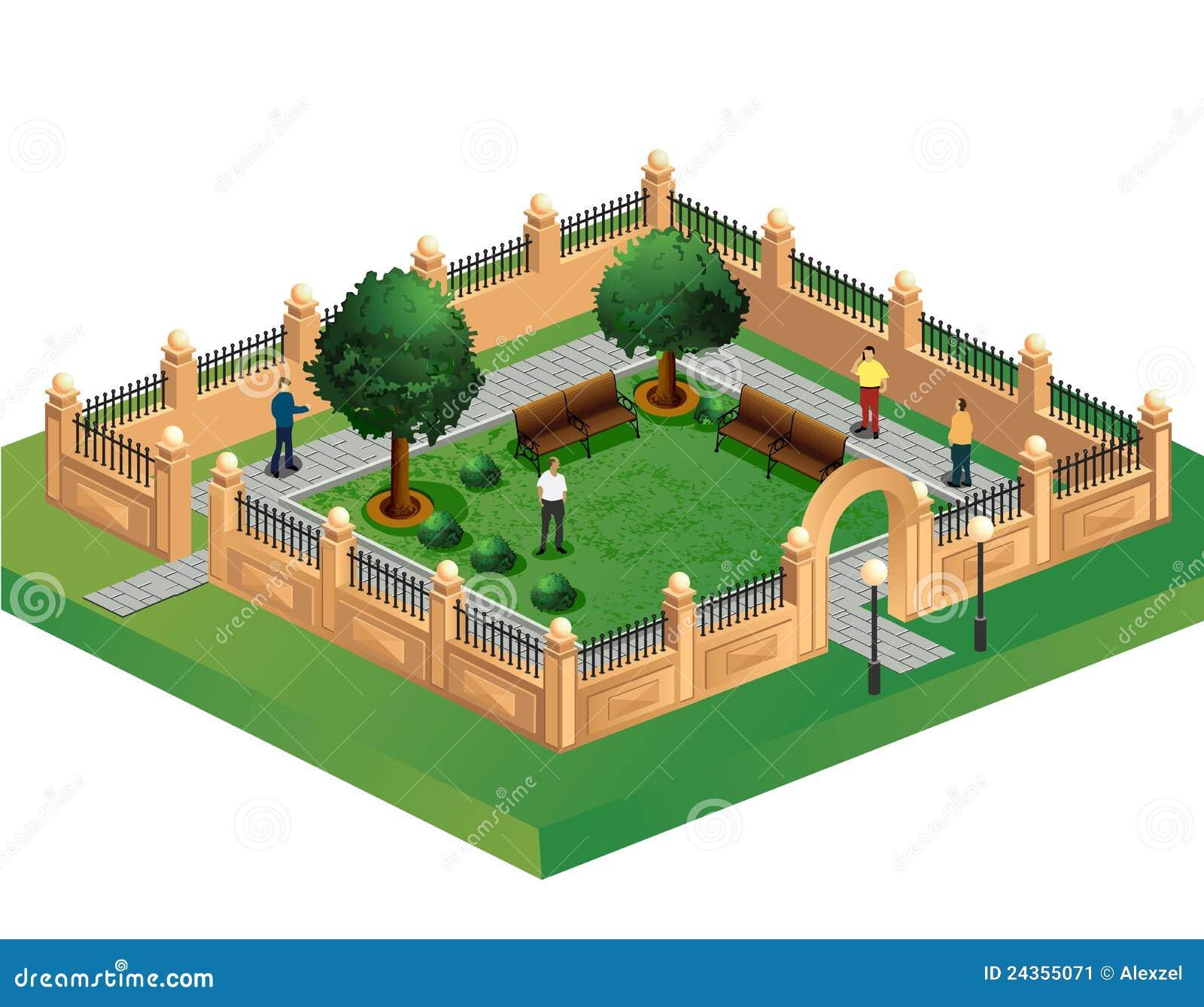 Life City Technology Garden Vector Illustration