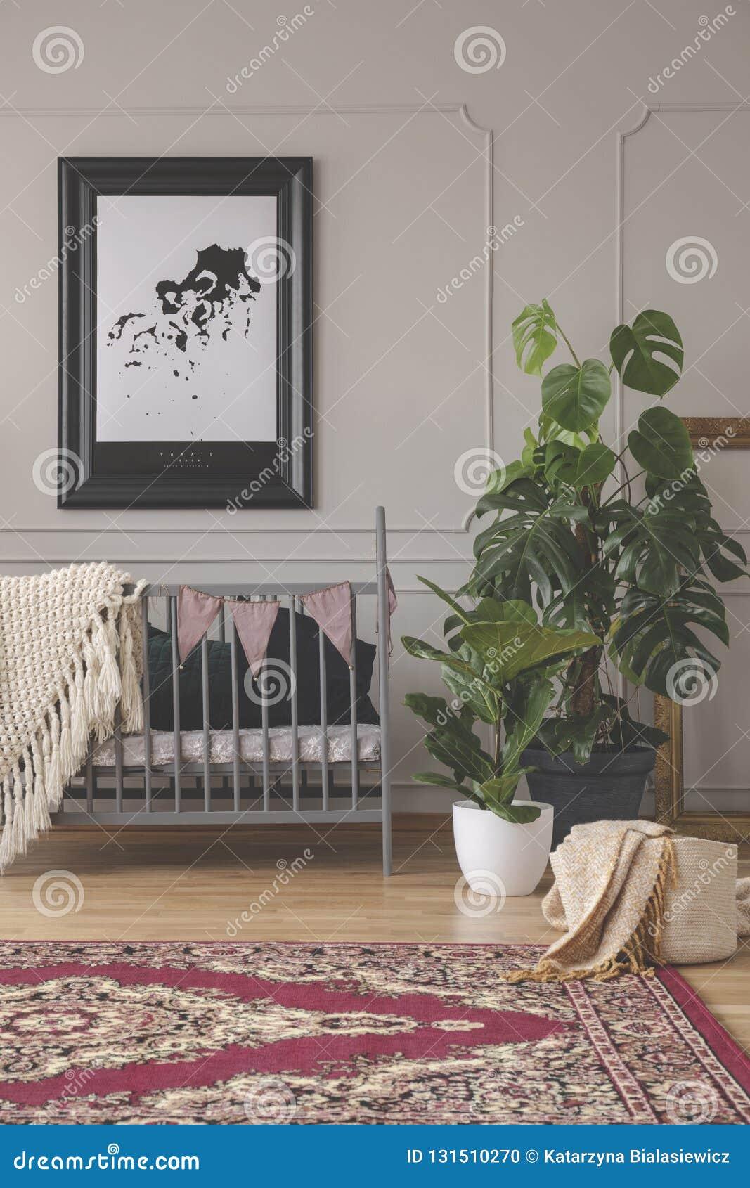 Urban Jungle In Mid Century Baby Room Interior Stock Photo - Image