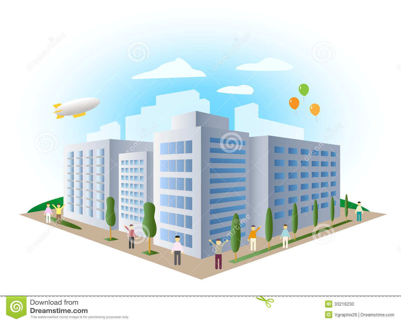 Town Landscape Vector Illustration: Urban Landscape Building, Vector Stock Photo
