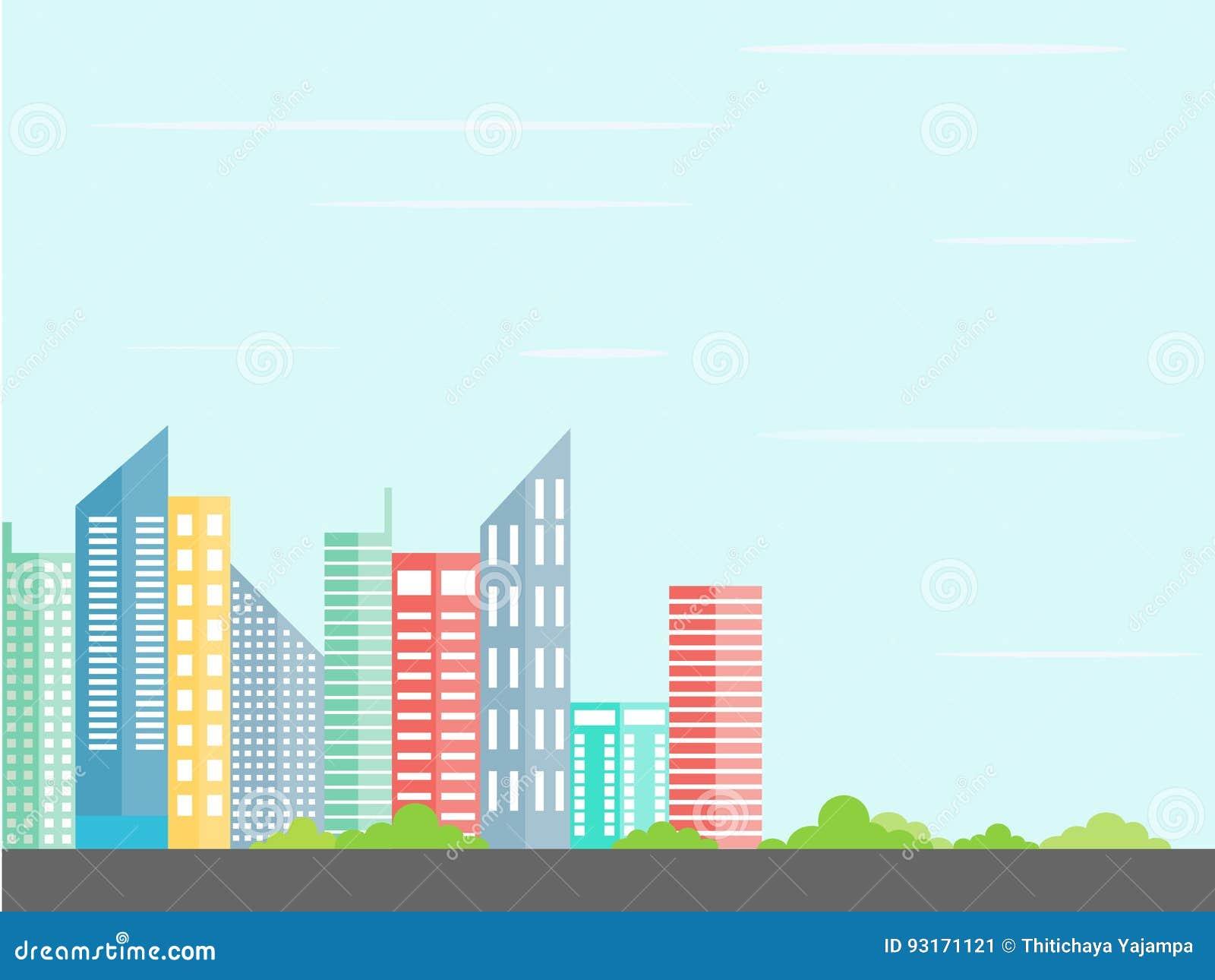 urban landscape city architecture in a minimalist style flat