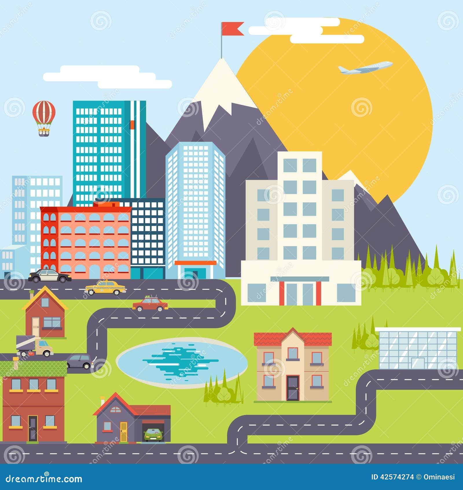 Caricaturas paisajes de ciudad wallskid for Mountain designs garden city