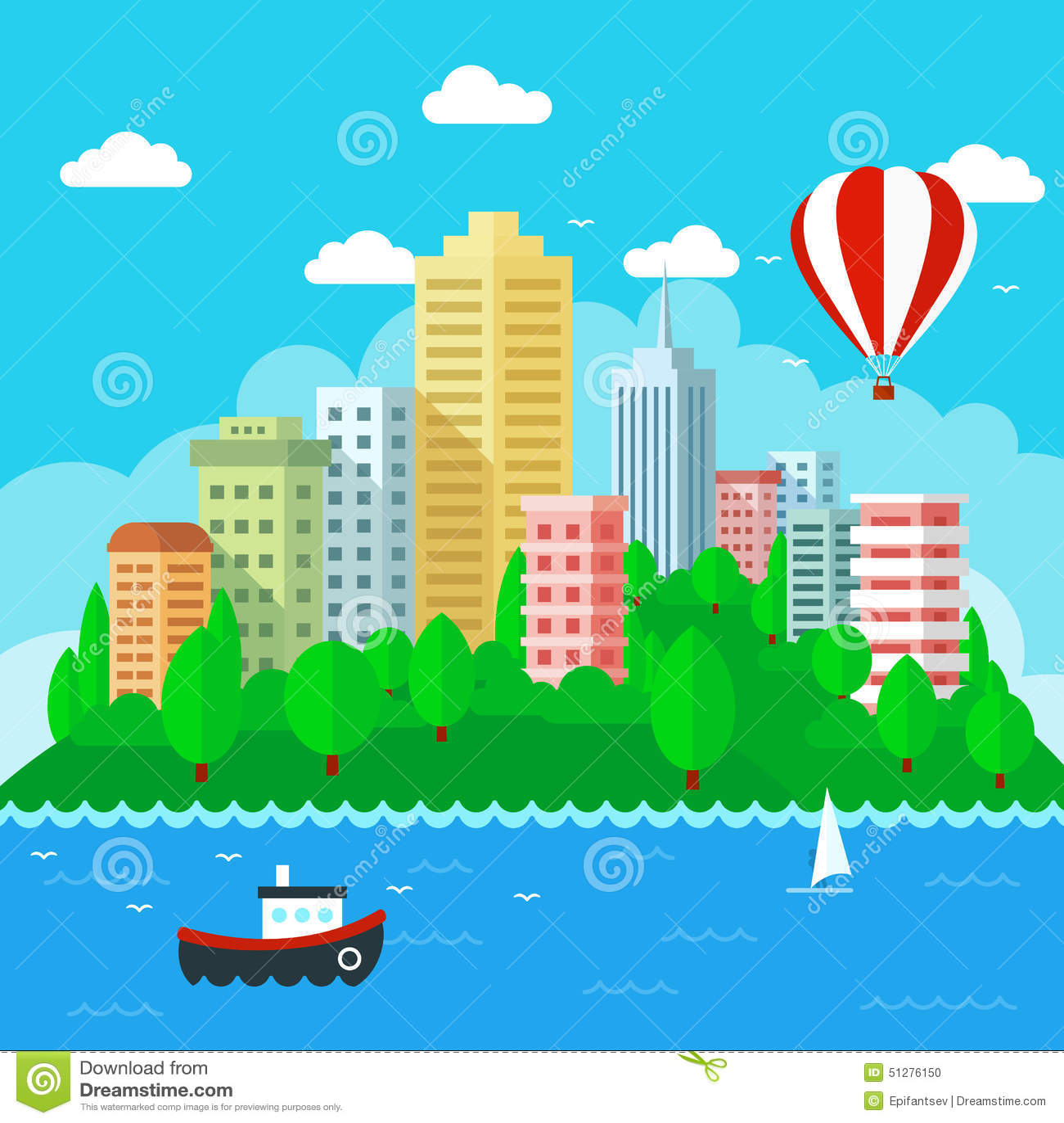 Town Landscape Vector Illustration: Urban Landscape In Flat Style Design. Vector Illustration