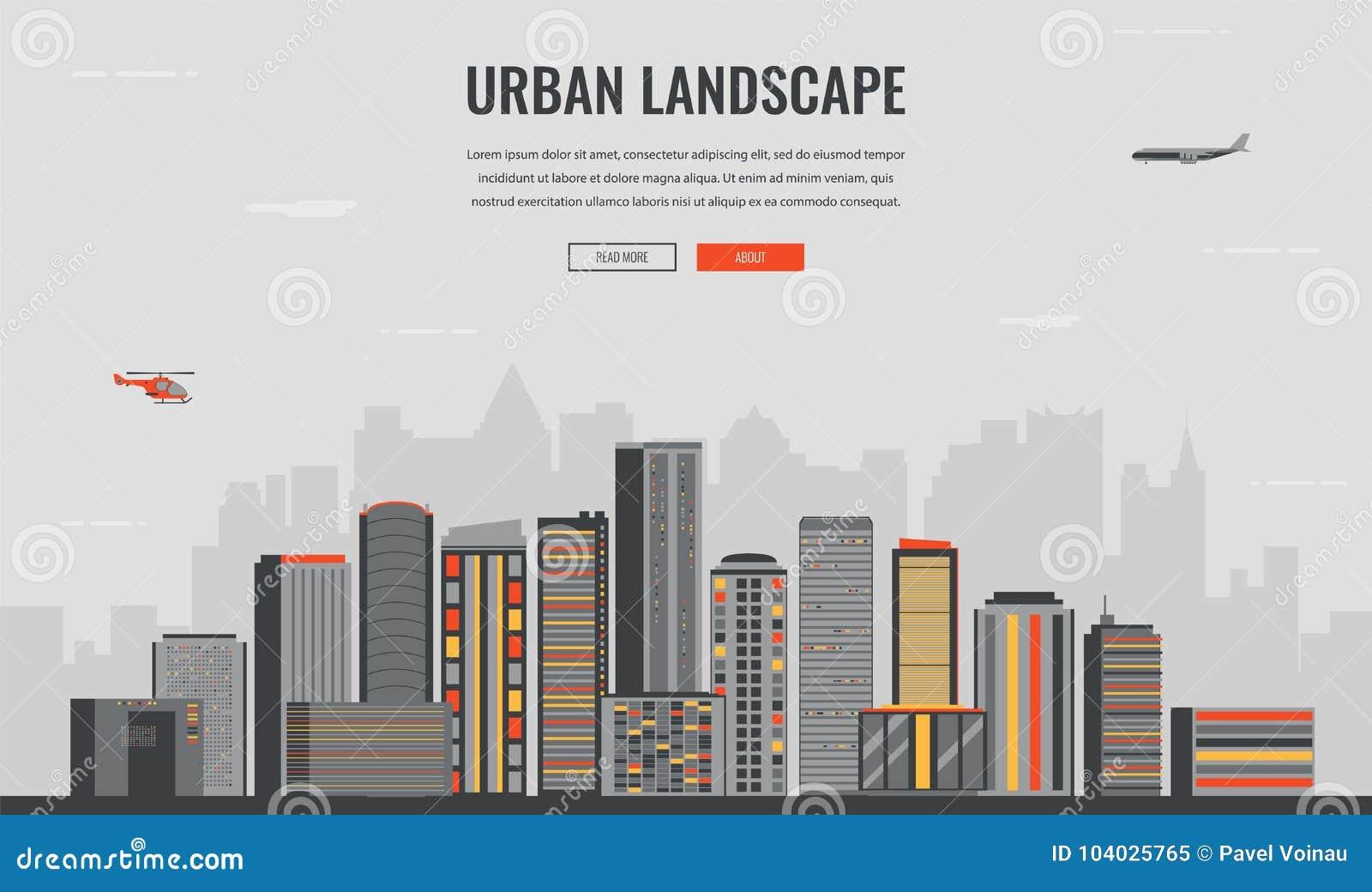 Urban Landscape. Modern City. Building Architecture, Cityscape Town ...