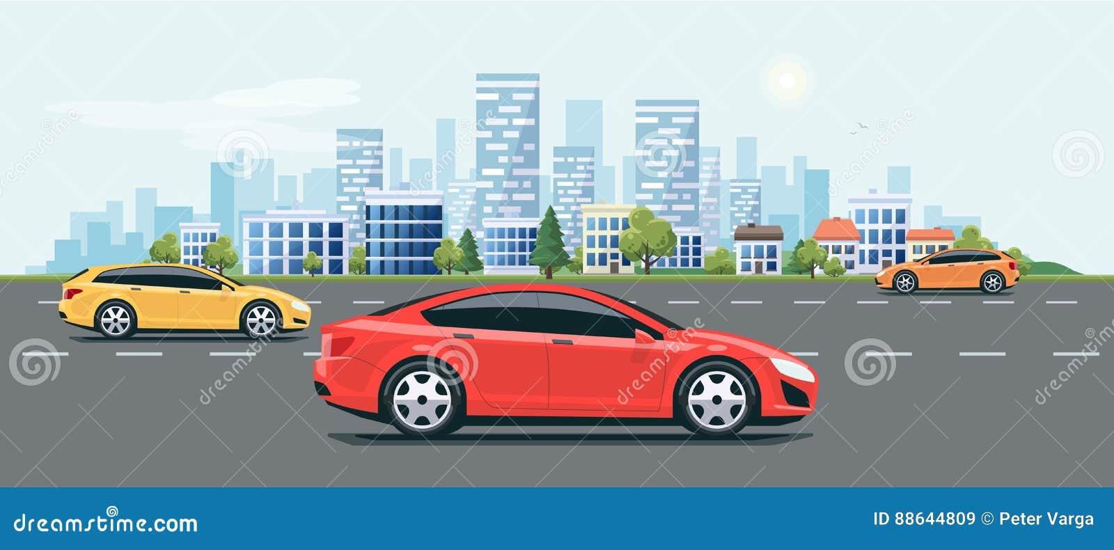 e54b13942c Flat vector cartoon style illustration of urban landscape city street with  cars