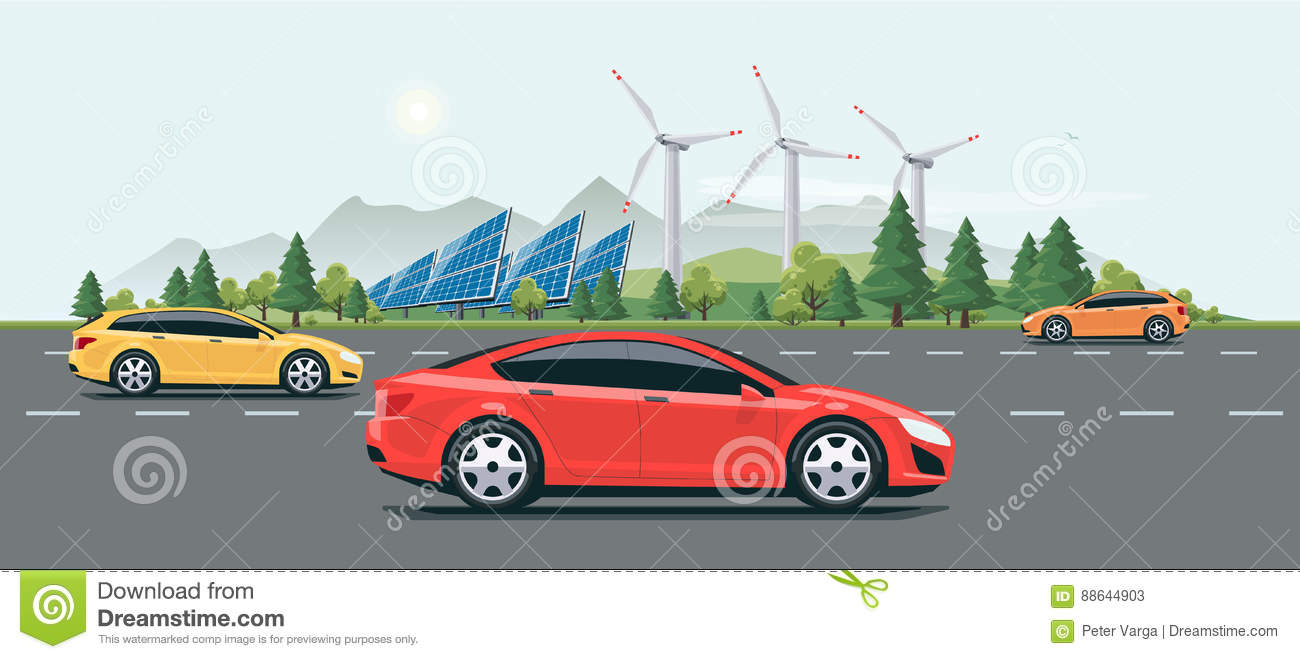 Urban Landscape Street Road With Electric Cars Nature Background